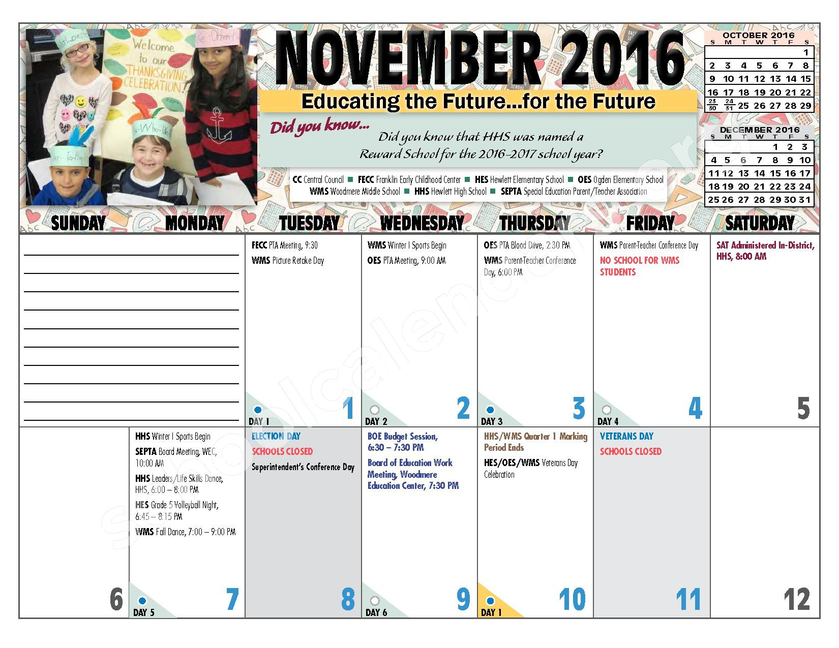 2016 - 2017 District Calendar – Hewlett-Woodmere Union Free School District – page 8