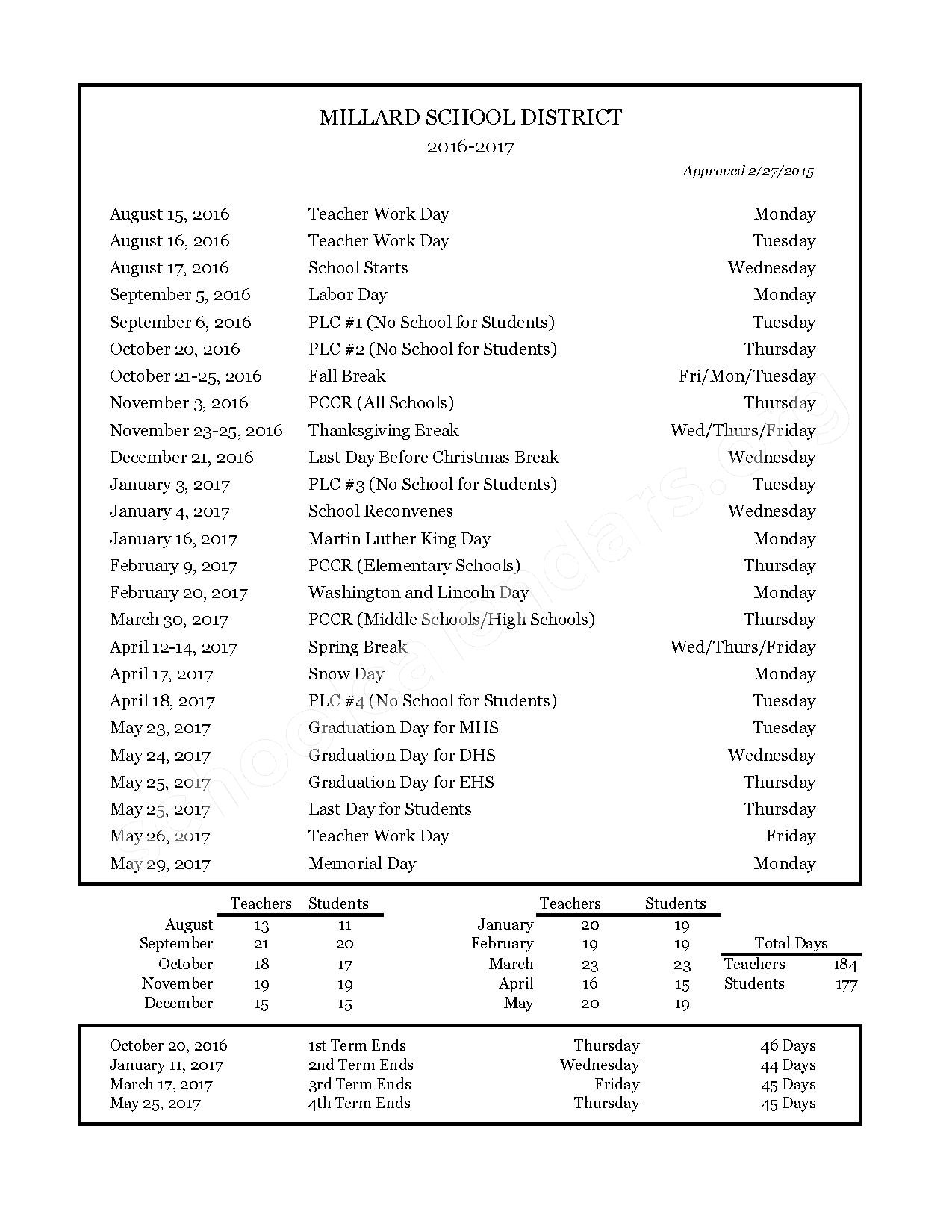 2016 - 2017 Holiday Calendar – Millard School District – page 1