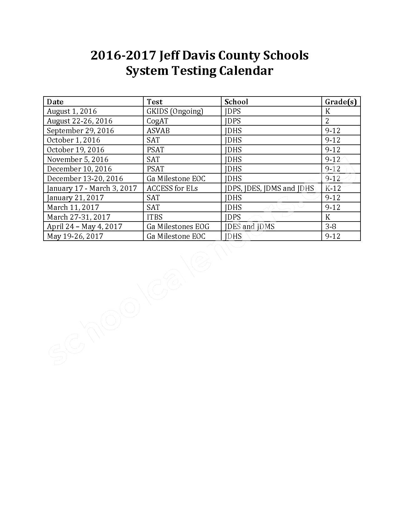 2016 - 2017 Testing Calendar – Jeff Davis County School District – page 1