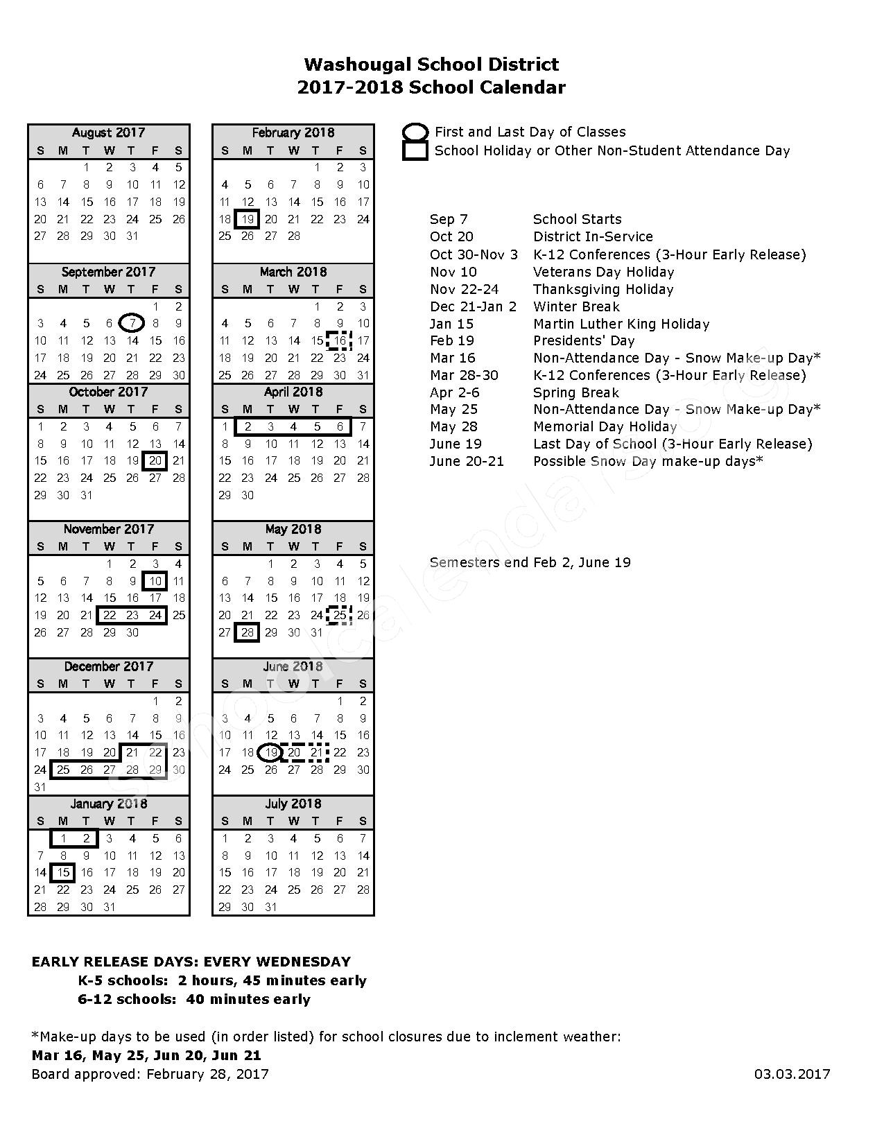 2017 - 2018 District Calendar – Washougal School District – page 1