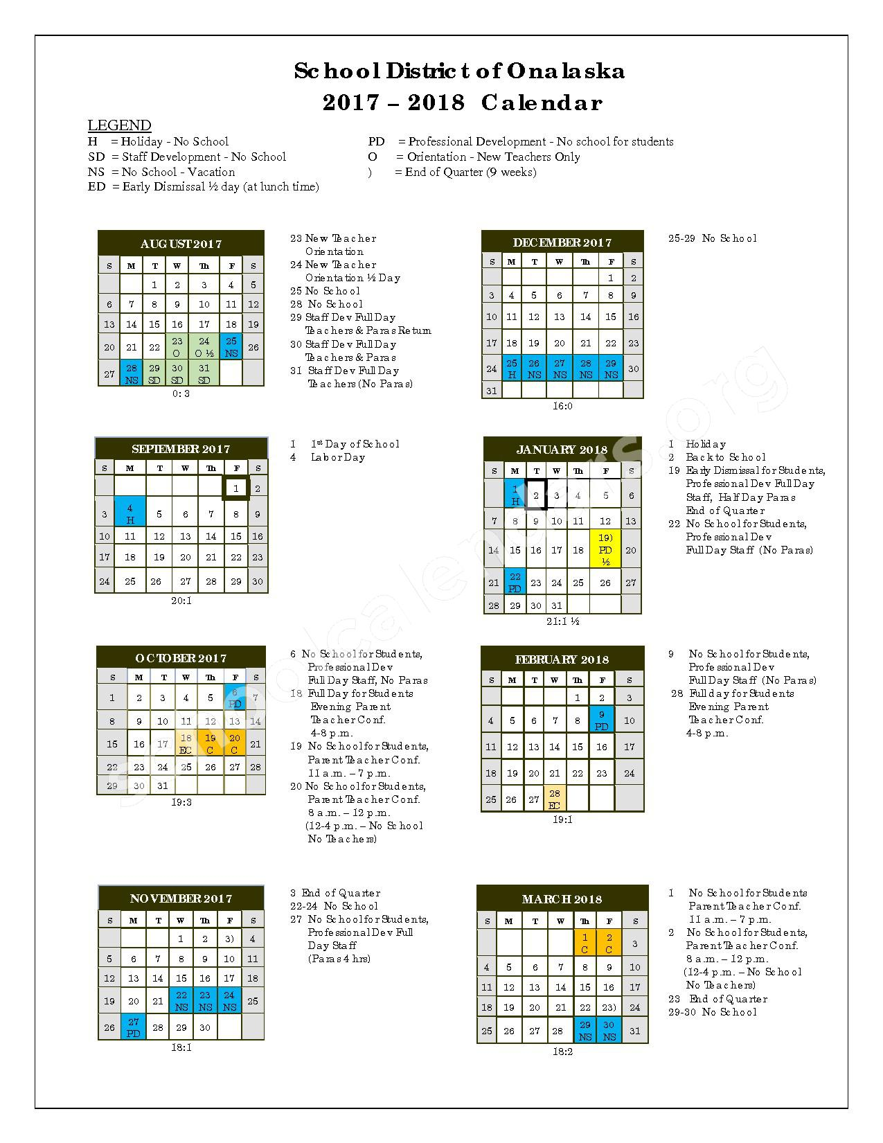2017 - 2018 District Calendar – Onalaska School District – page 1
