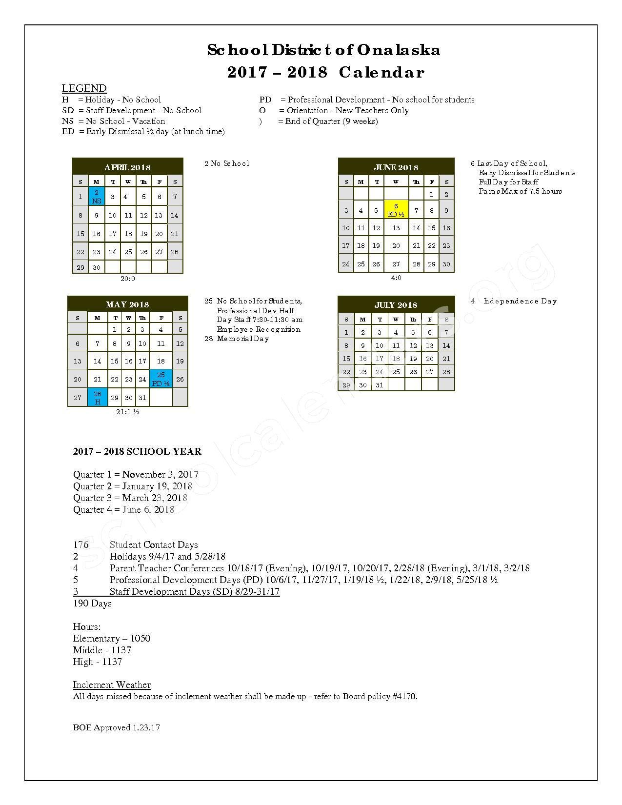 2017 - 2018 District Calendar – Onalaska School District – page 2