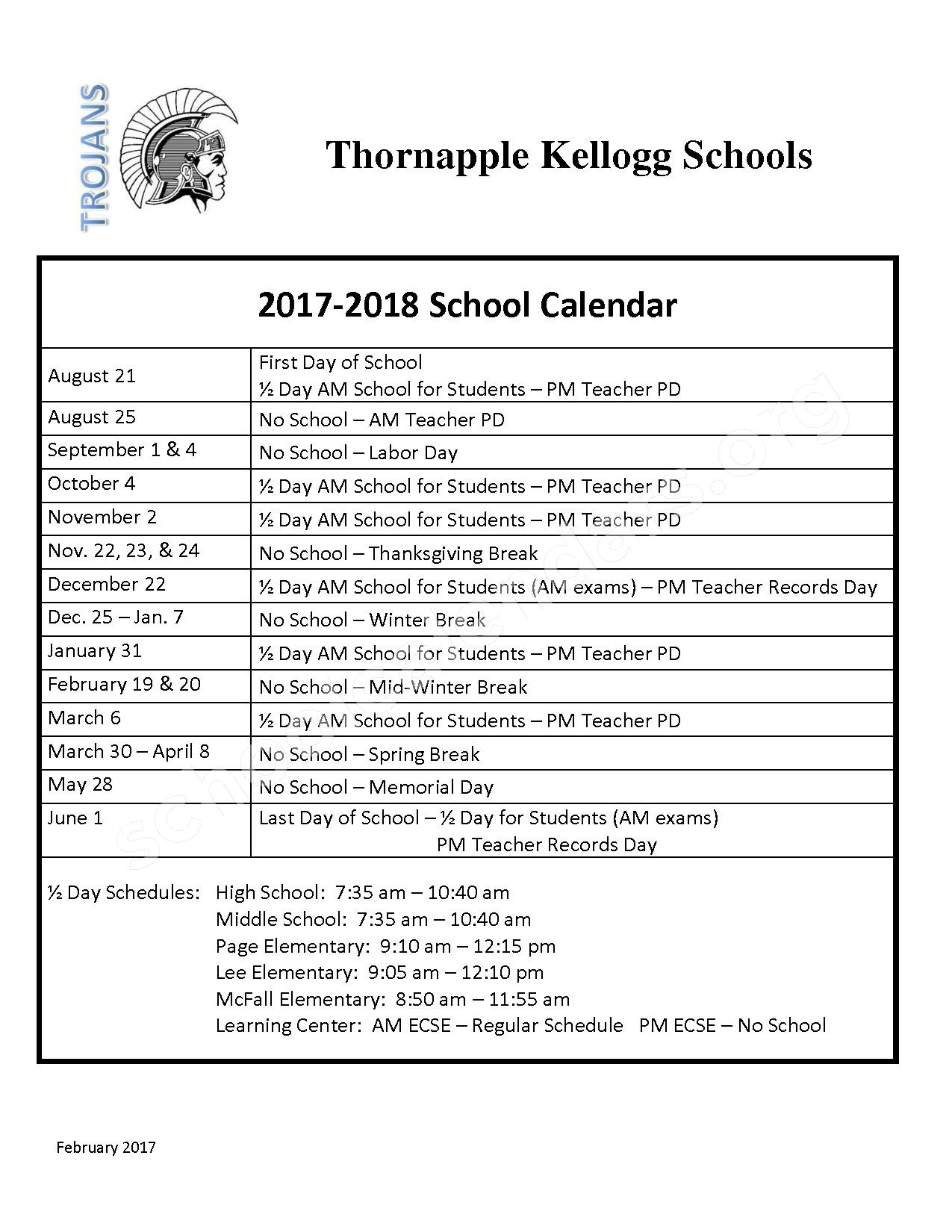 2017 - 2018 School Calendar – Thornapple Kellogg High School – page 1