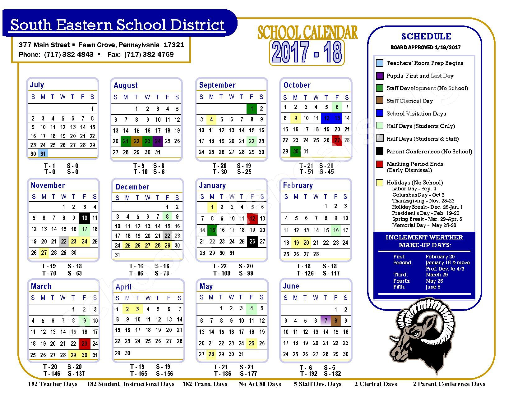 2017 - 2018 School Calendar – South Eastern School District – page 1