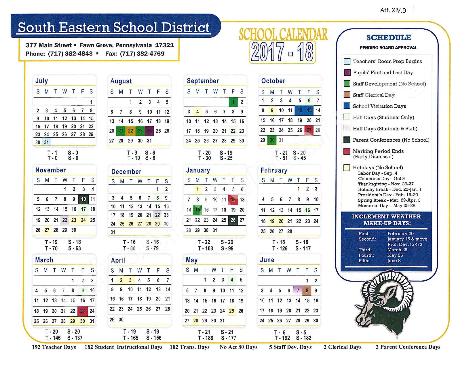 2017 - 2018 School Calendar – South Eastern Ms-East – page 1