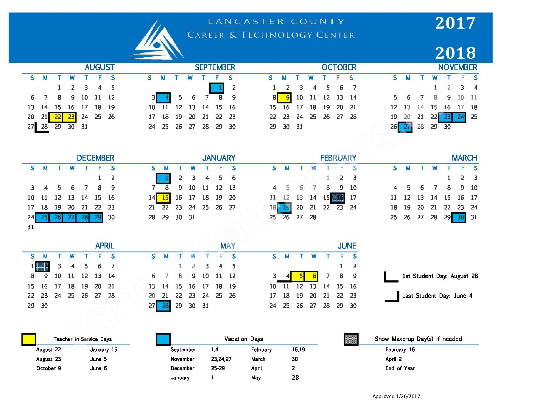 2017 - 2018 School Calendar – Doe Run Elementary School – page 1