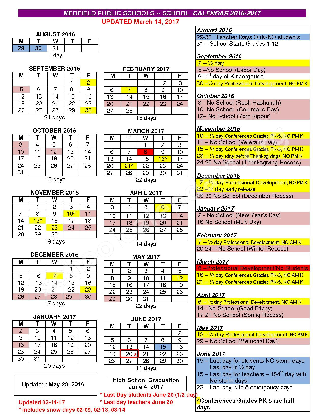 2016 - 2017 District Calendar – Medfield Public Schools – page 1