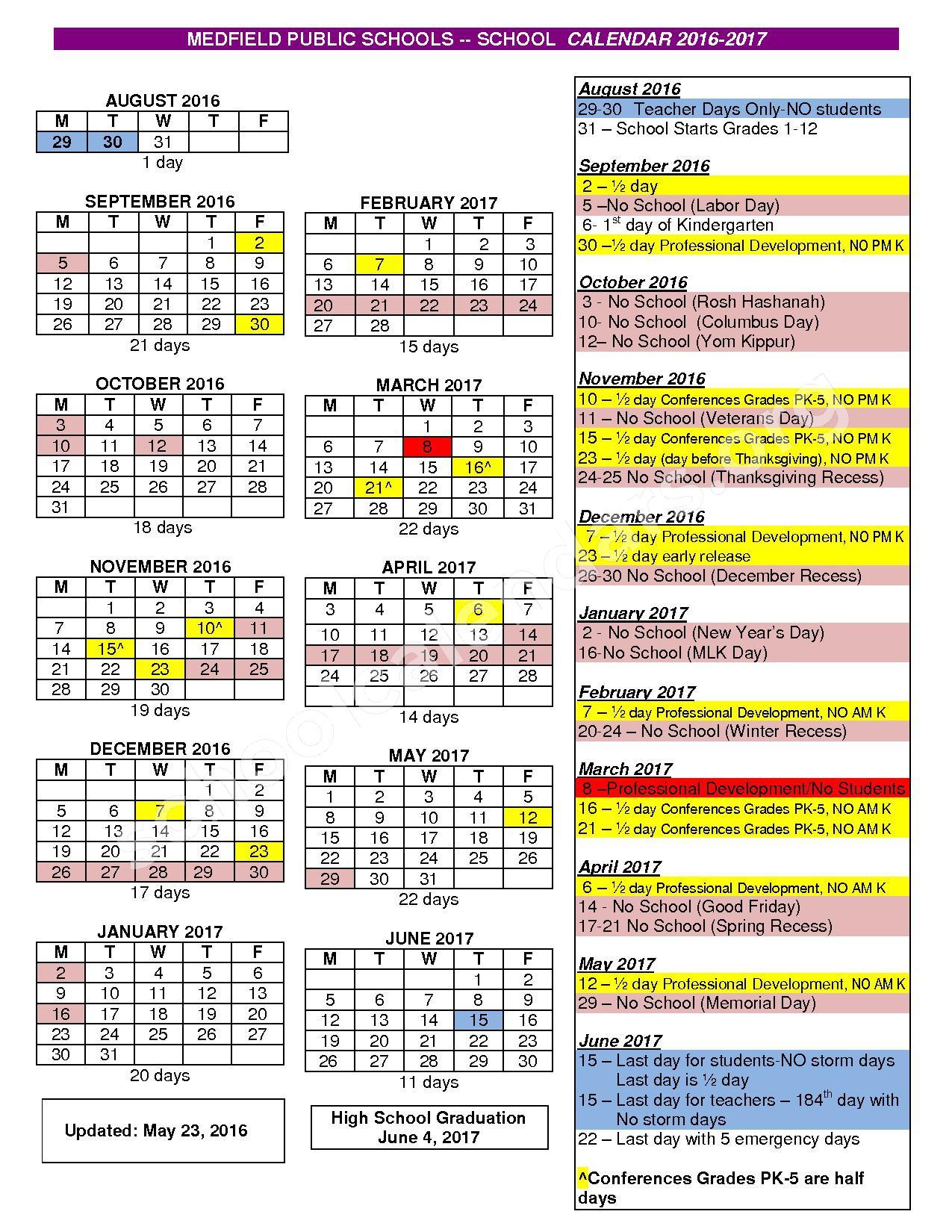 2016 - 2017 District Calendar – Medfield Public Schools – page 1
