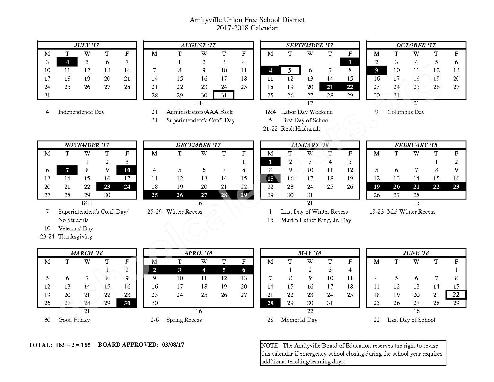 2017 - 2018 District Calendar – Amityville Union Free School District – page 1