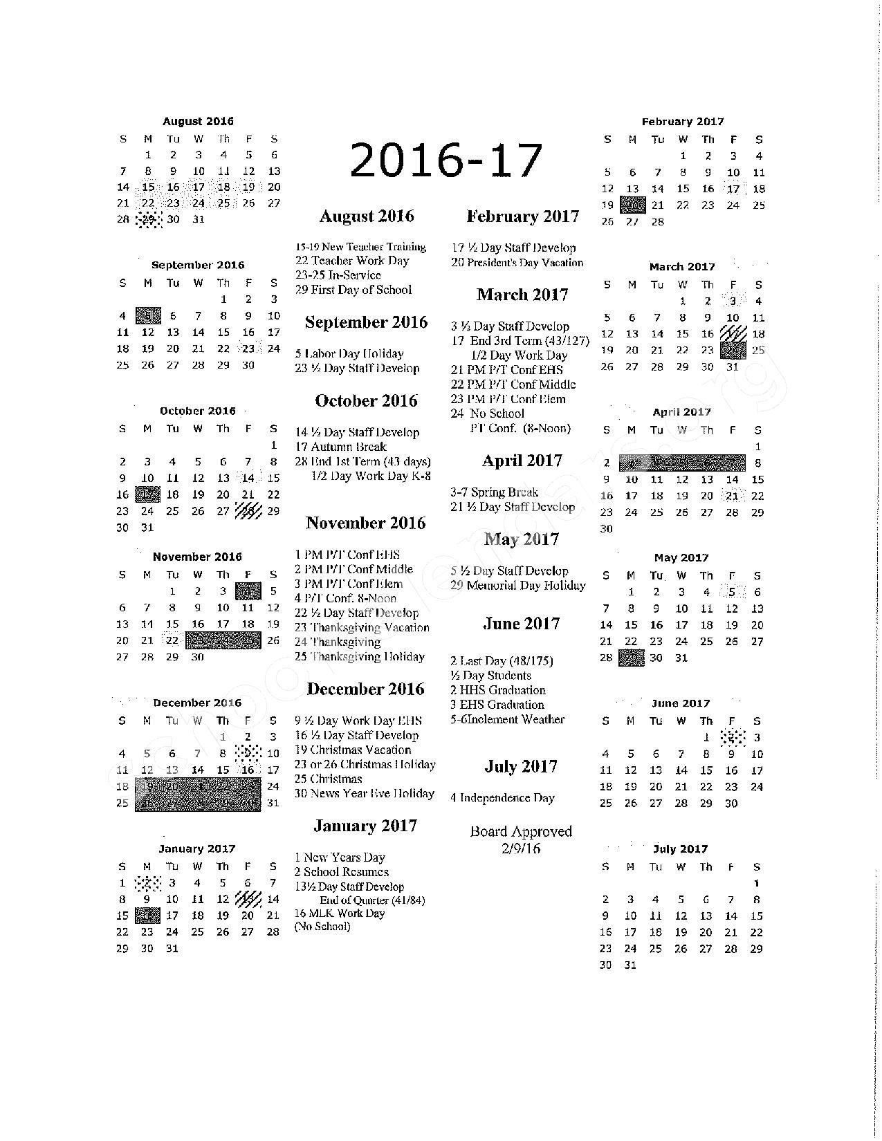 2016 - 2017 Holiday Calendar – Uinta County School District #1 – page 1