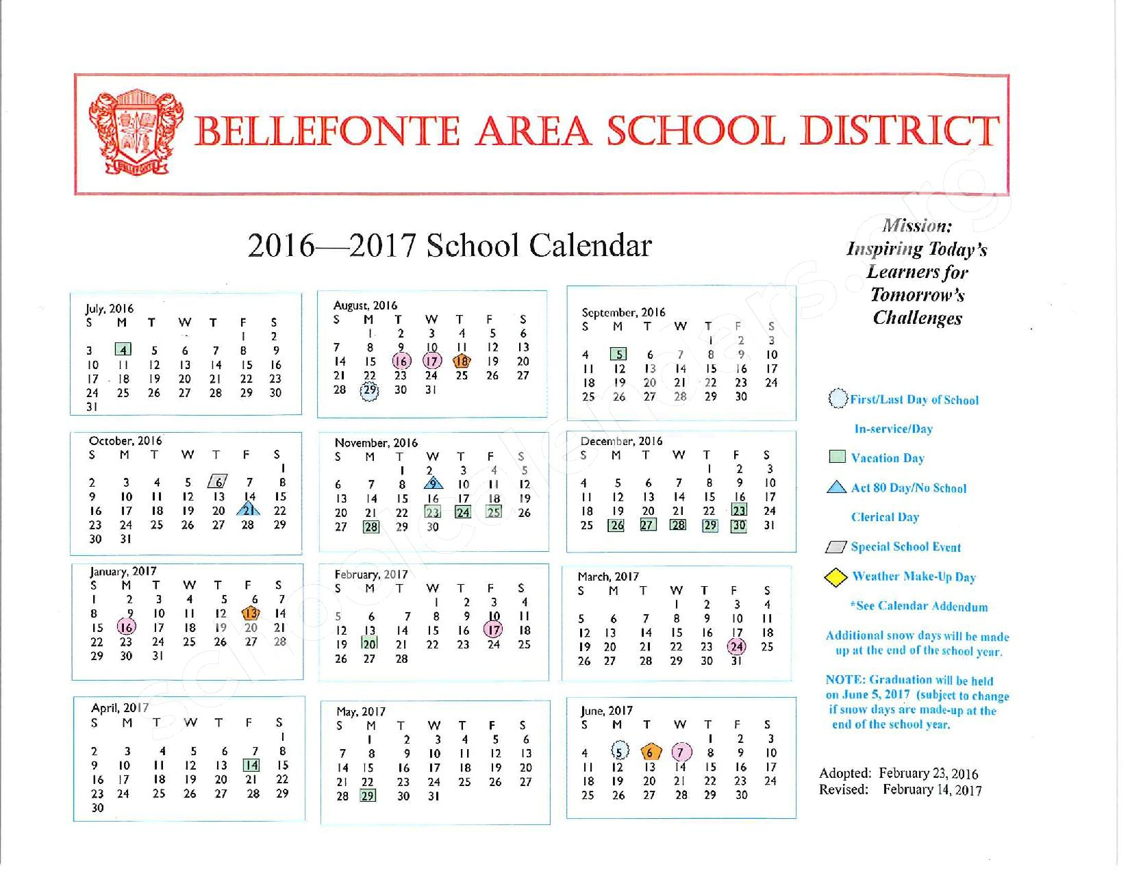 2016 - 2017 Academic Calendar – Bellefonte Area School District – page 1