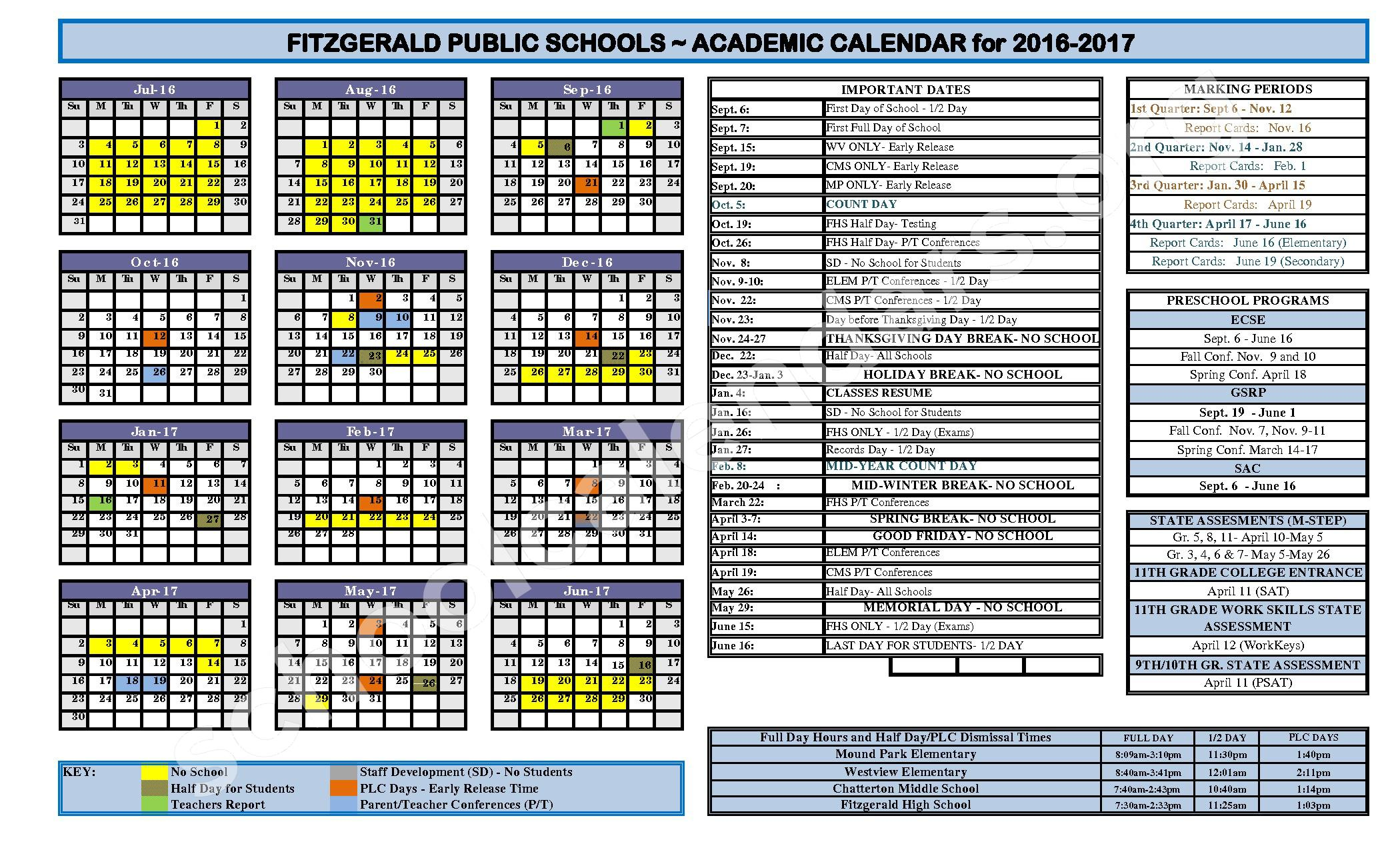 2016 - 2017 School Calendar – P.D. Chatterton Middle School – page 1
