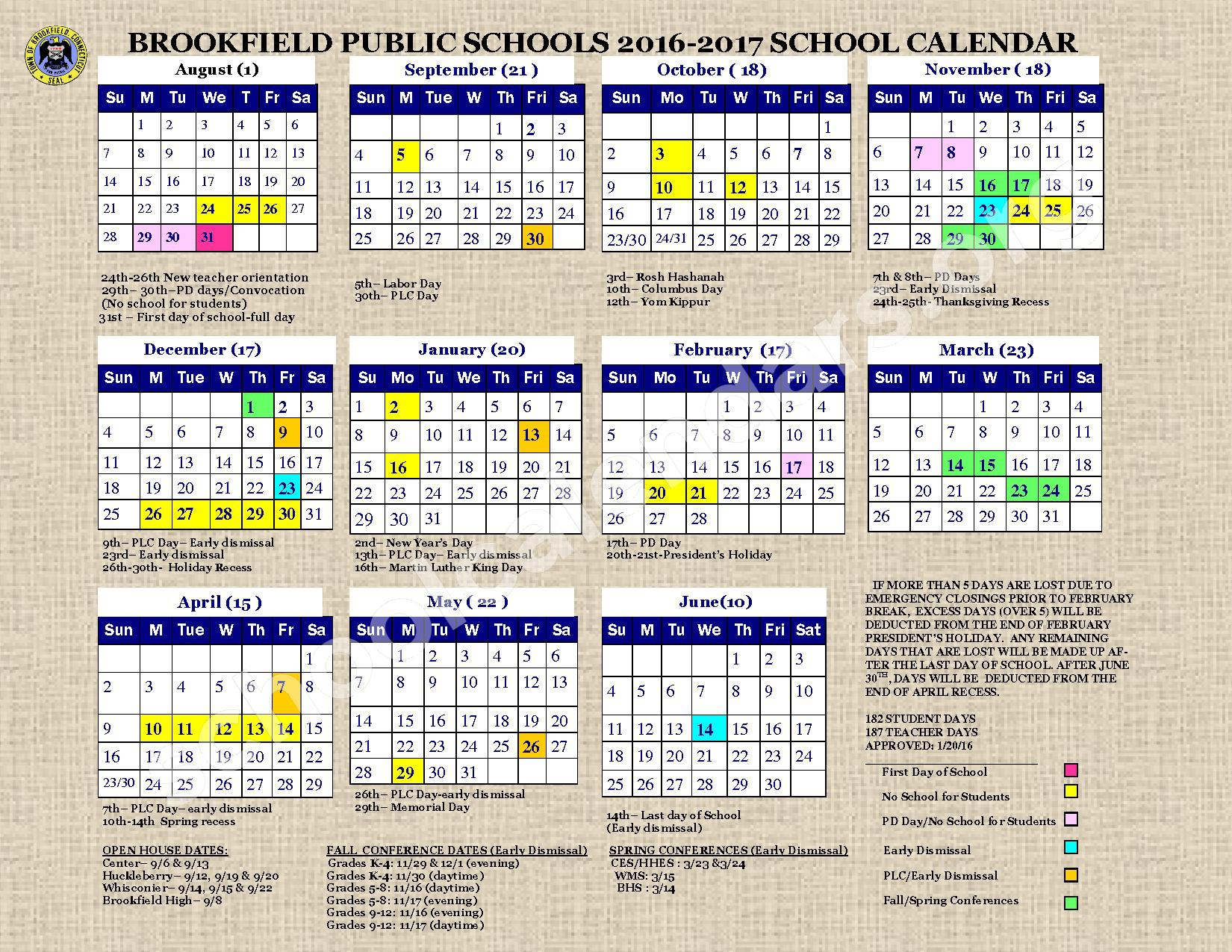2016 - 2017  District Calendar – Brookfield Public Schools – page 1