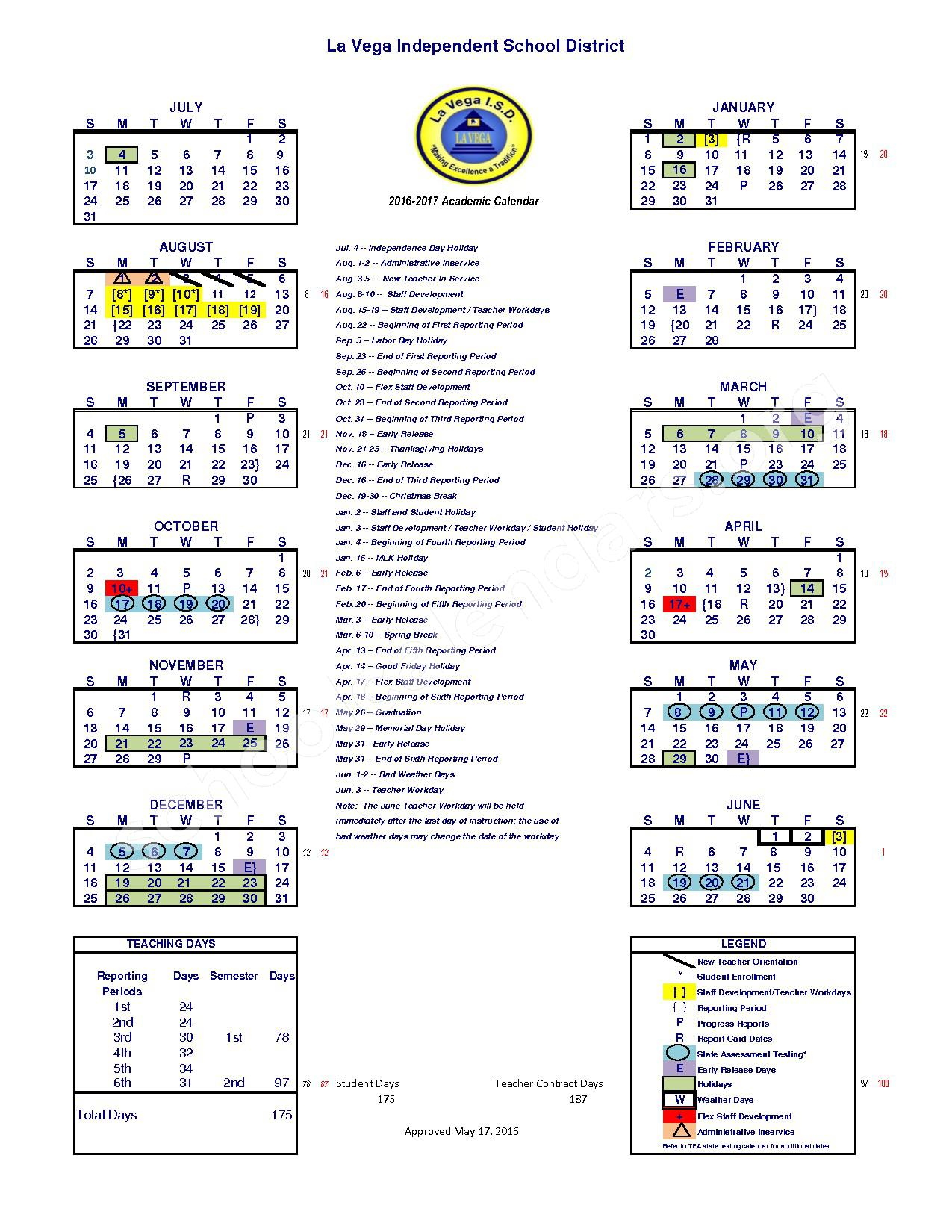 2016 - 2017 District Calendar – La Vega Independent School District – page 1
