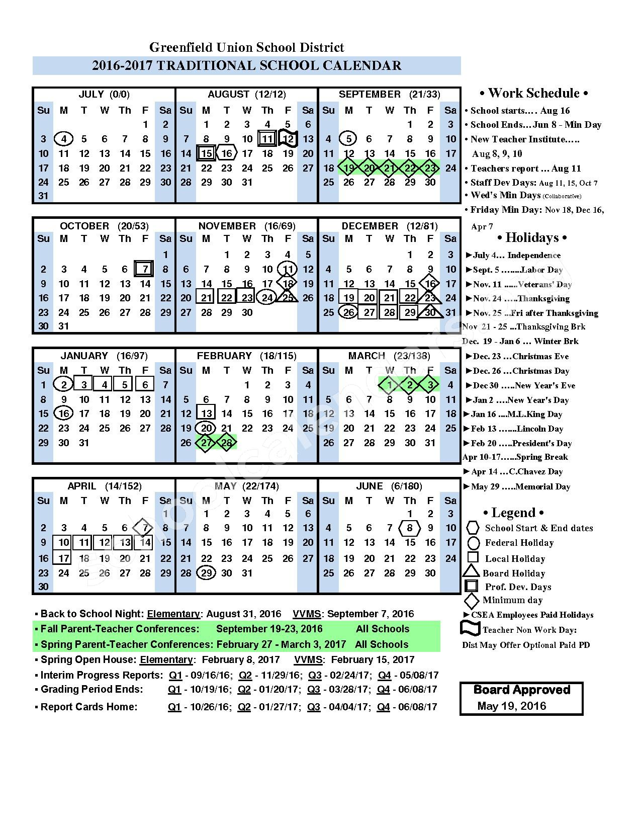 2016 - 2017 District Calendar – Greenfield Union School District (Greenfield) – page 1