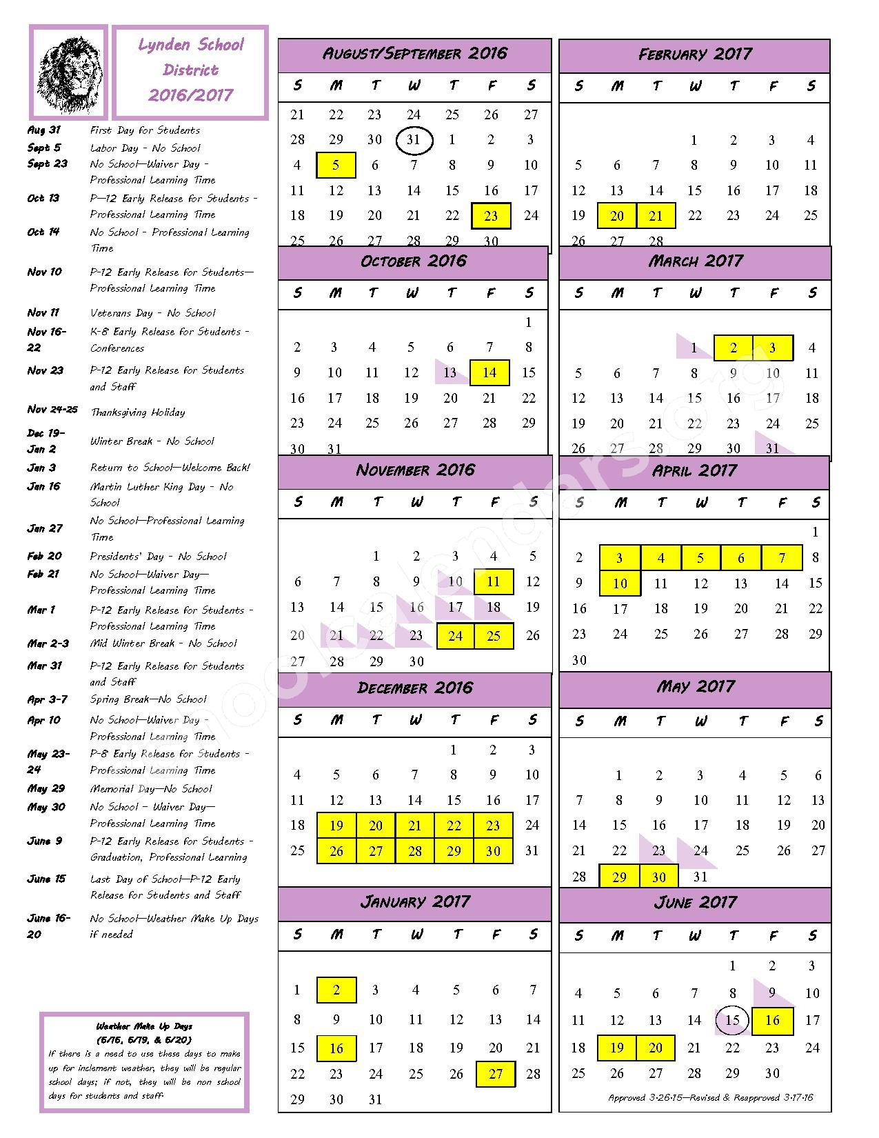 2016 - 2017 School Calendar – Lynden School District – page 1