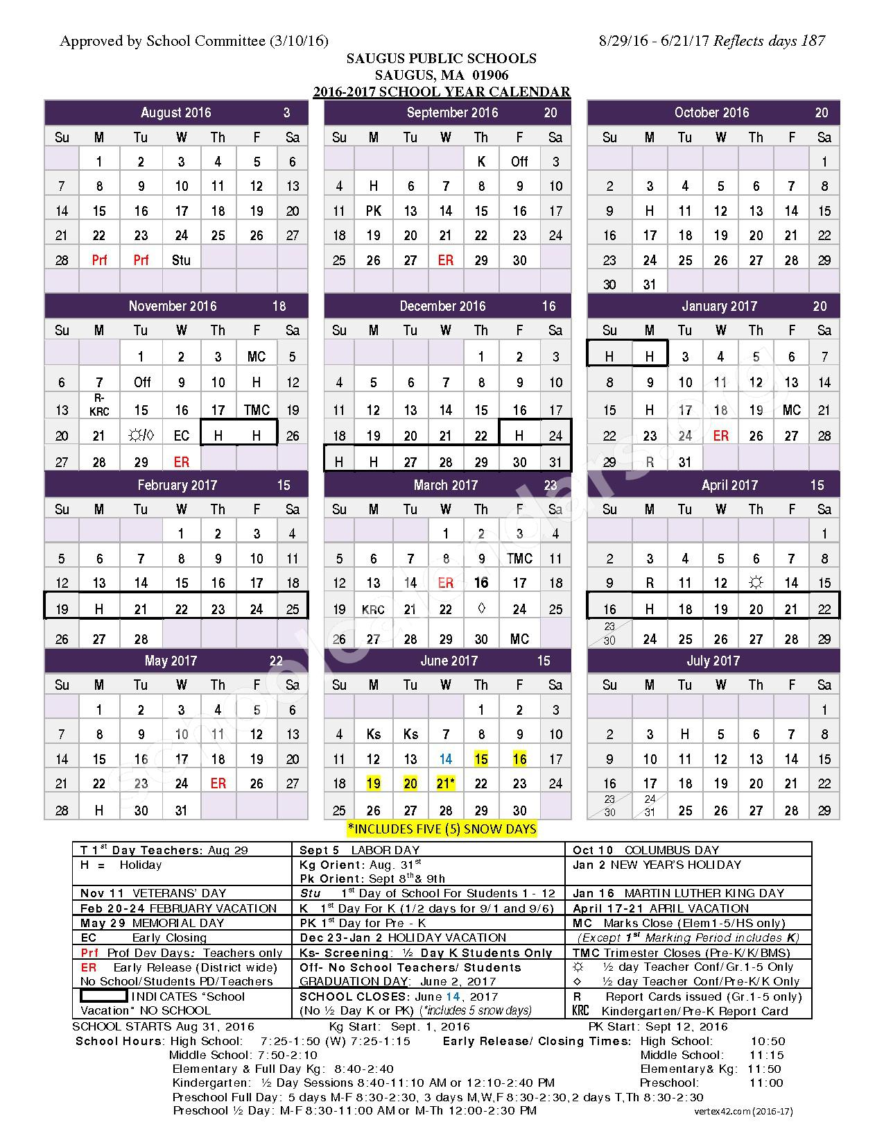 2016 - 2017 School Calendar – Veterans Memorial – page 1