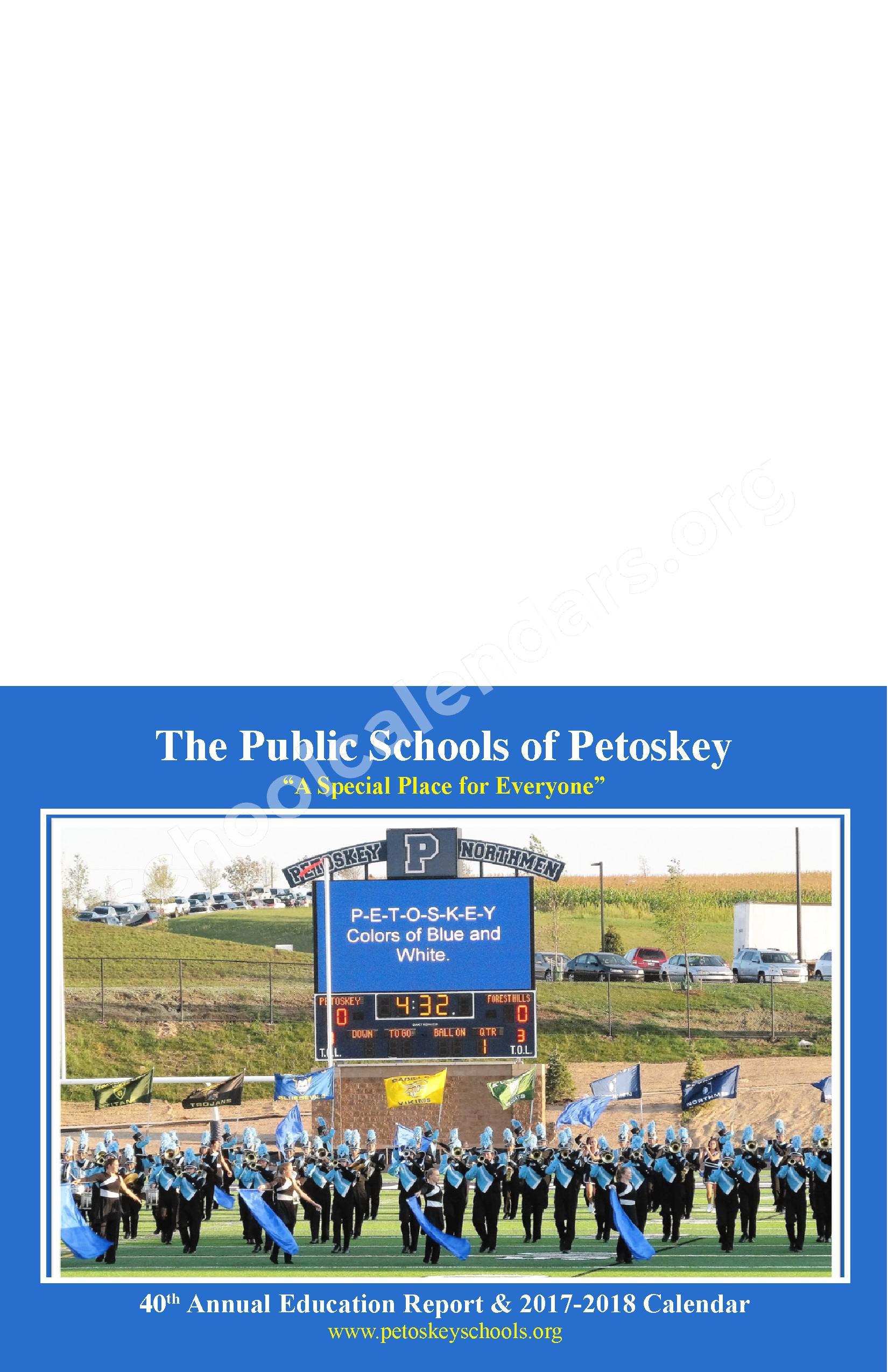 Annual Report & Calendar – Public Schools of Petoskey – page 1