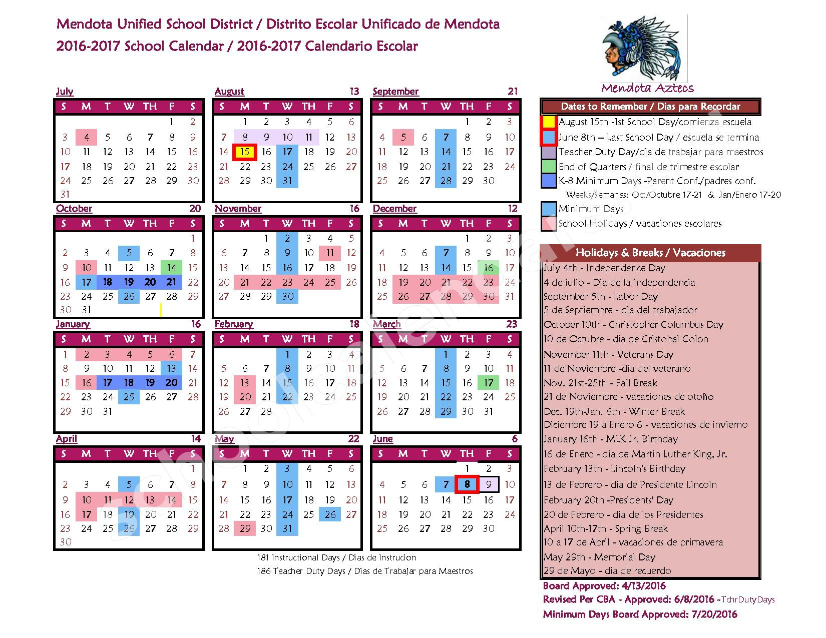 2016 - 2017 District Calendar – Mendota Unified School District – page 1
