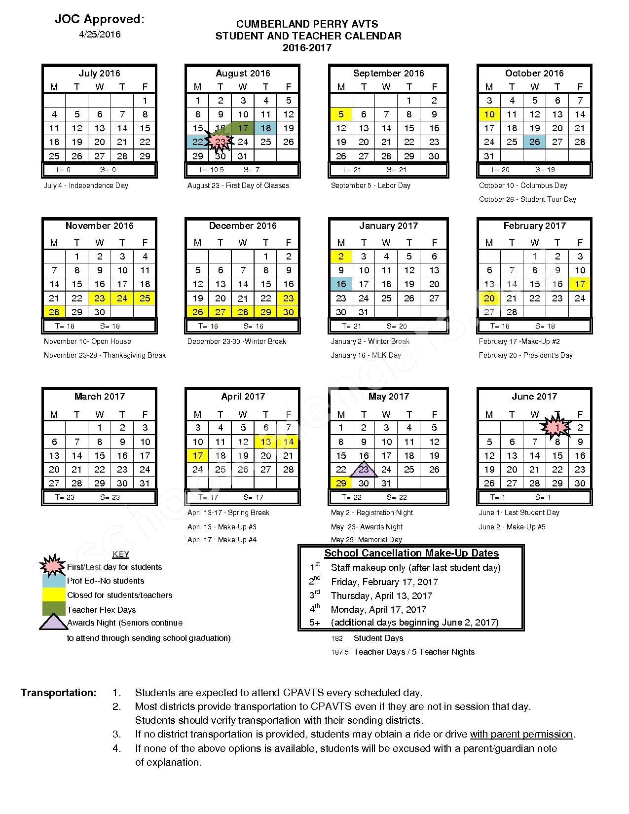 2016 - 2017 School Calendar – East Pennsboro Area Senior High School – page 1