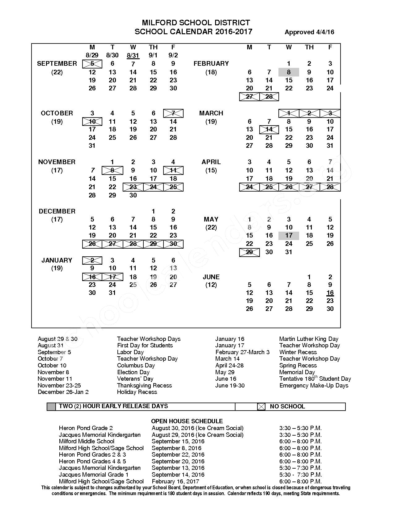 2016 - 2017 School Calendar – SAU 40 - Milford School District – page 1