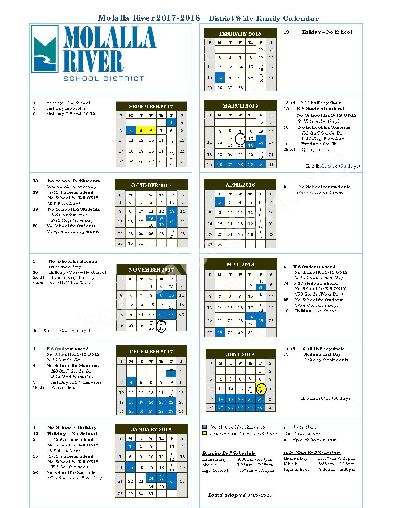 2017 - 2018 District Calendar – Molalla River Middle School – page 1
