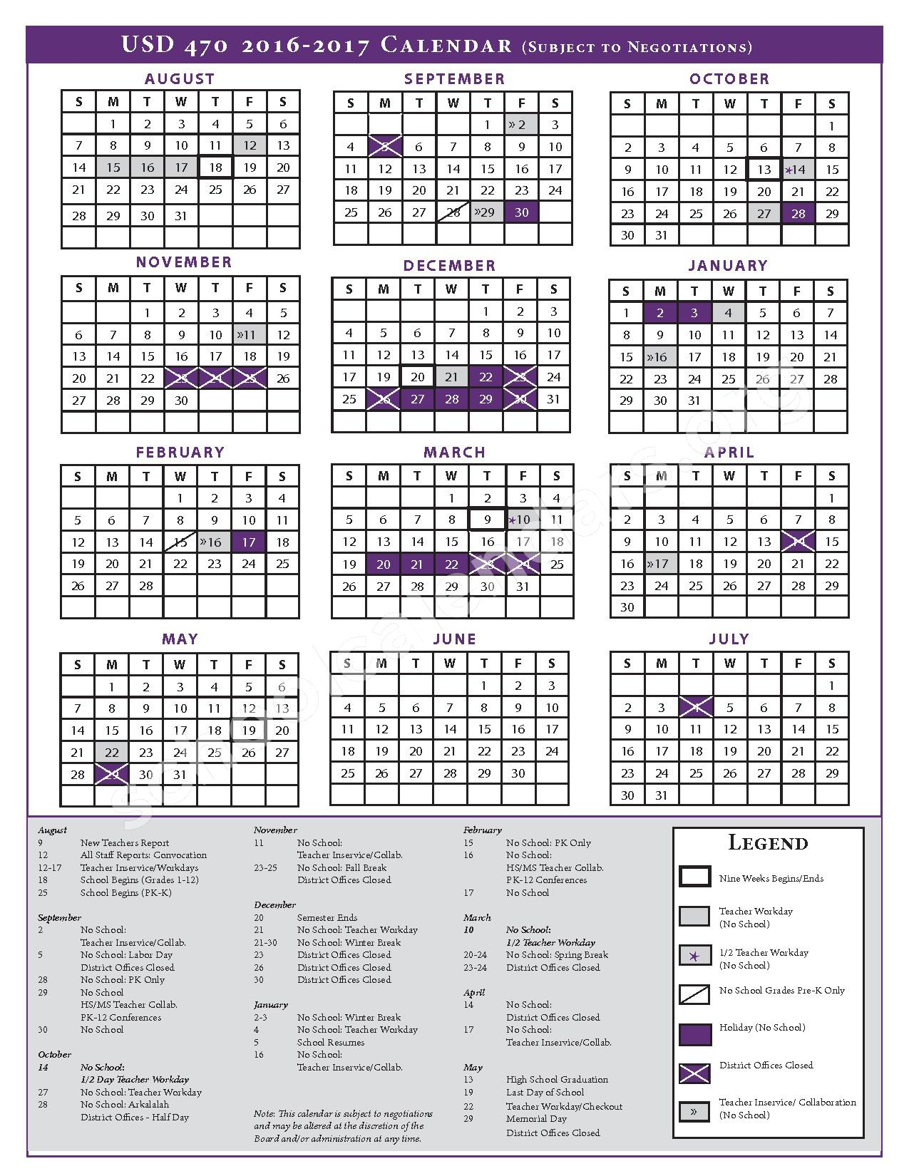 2016 - 2017 School Calendar – Arkansas City Middle School – page 1