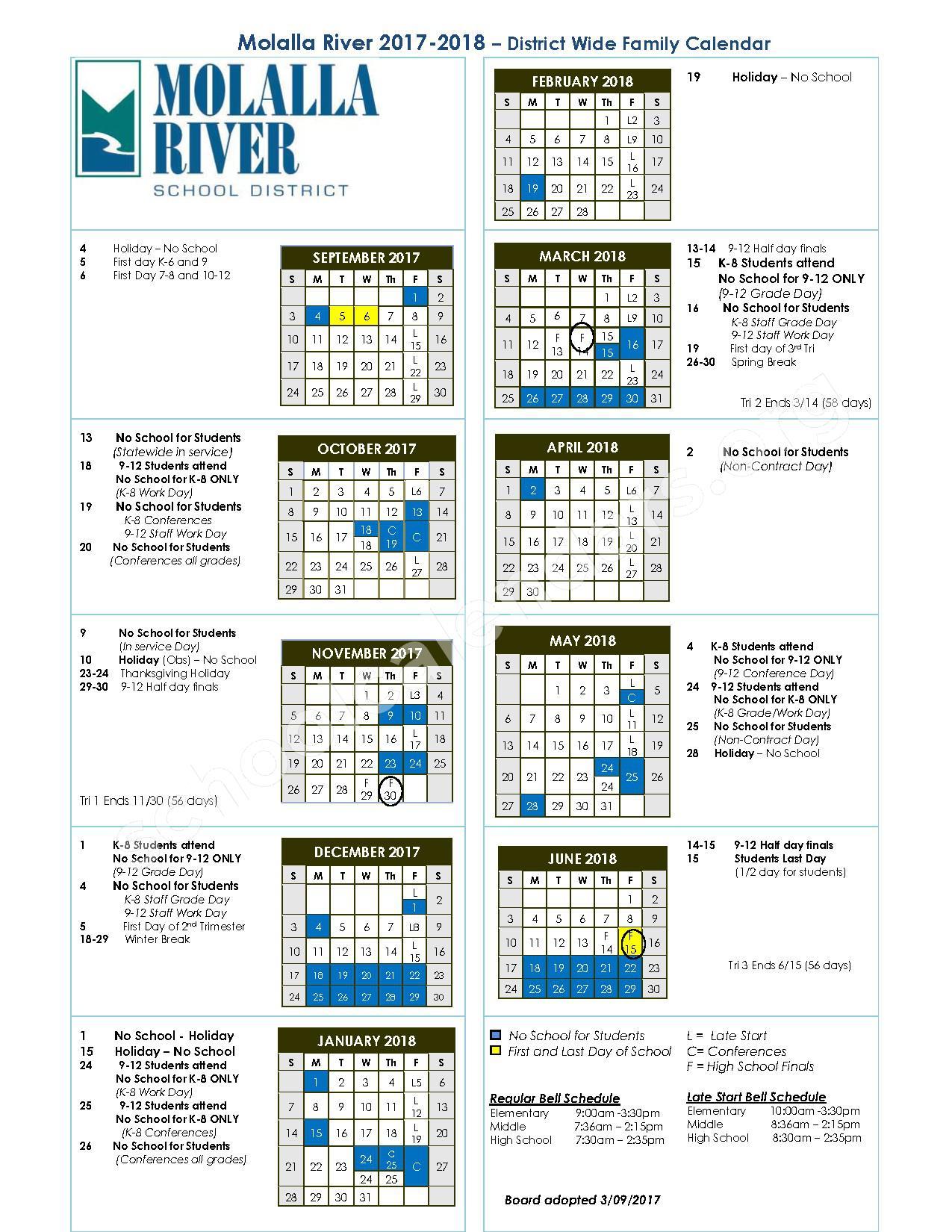 2017 - 2018 District Calendar – Molalla River School District – page 1