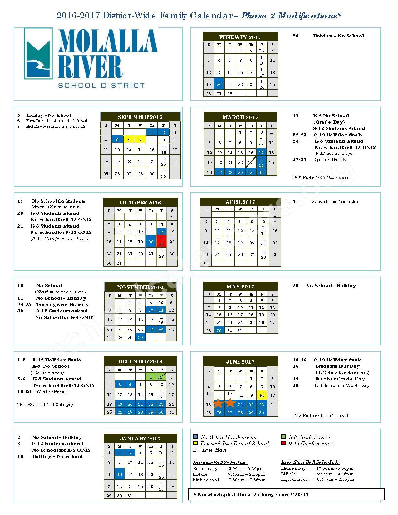 2016 - 2017 District Calendar – Molalla River School District – page 1