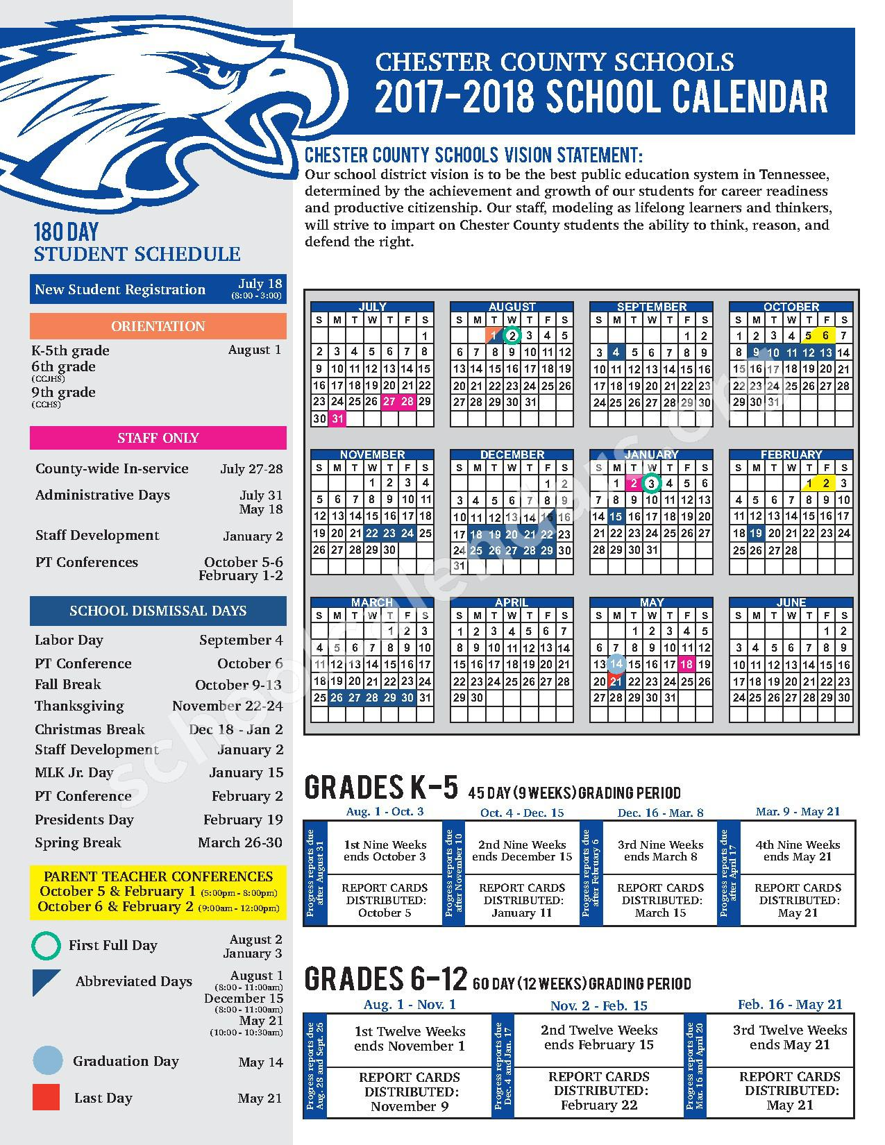 2017 - 2018 District Calendar – Chester County Schools – page 1