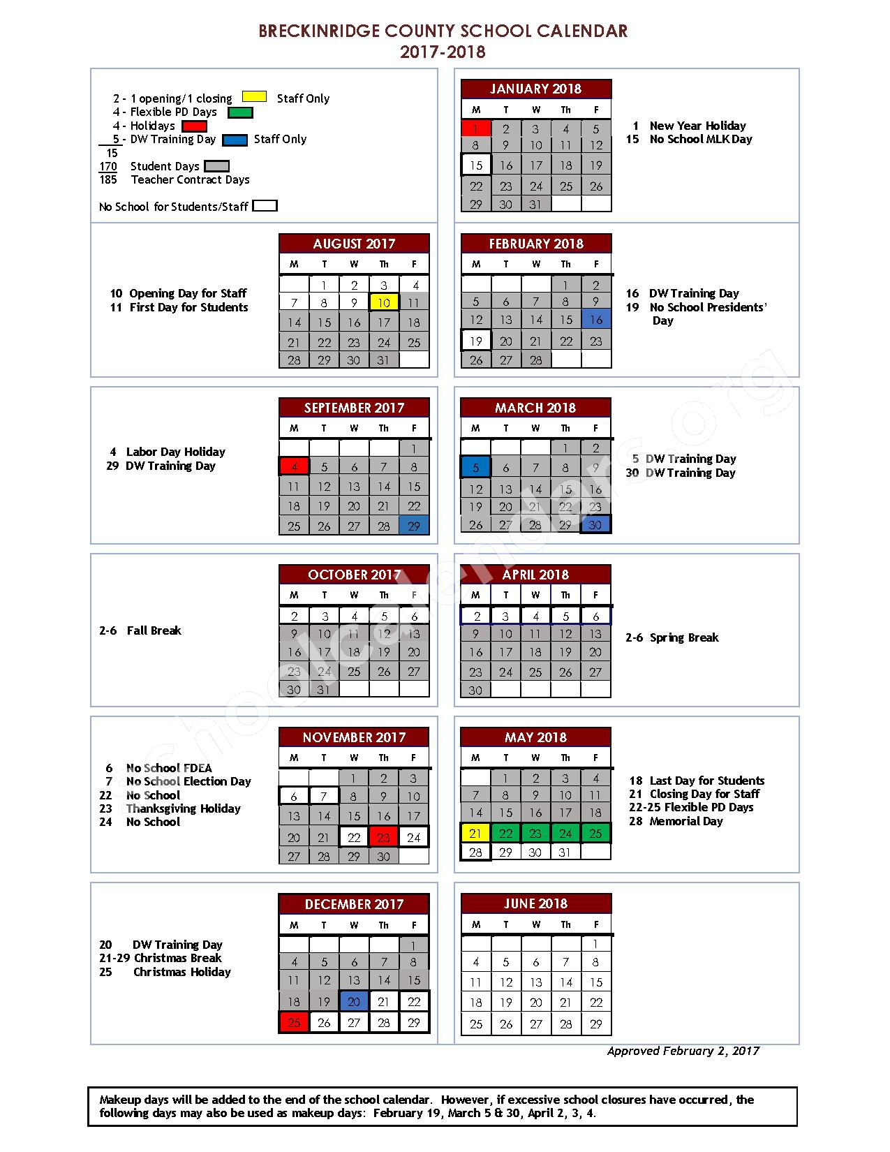 2017 - 2018 District Calendar – Breckinridge County School District – page 1