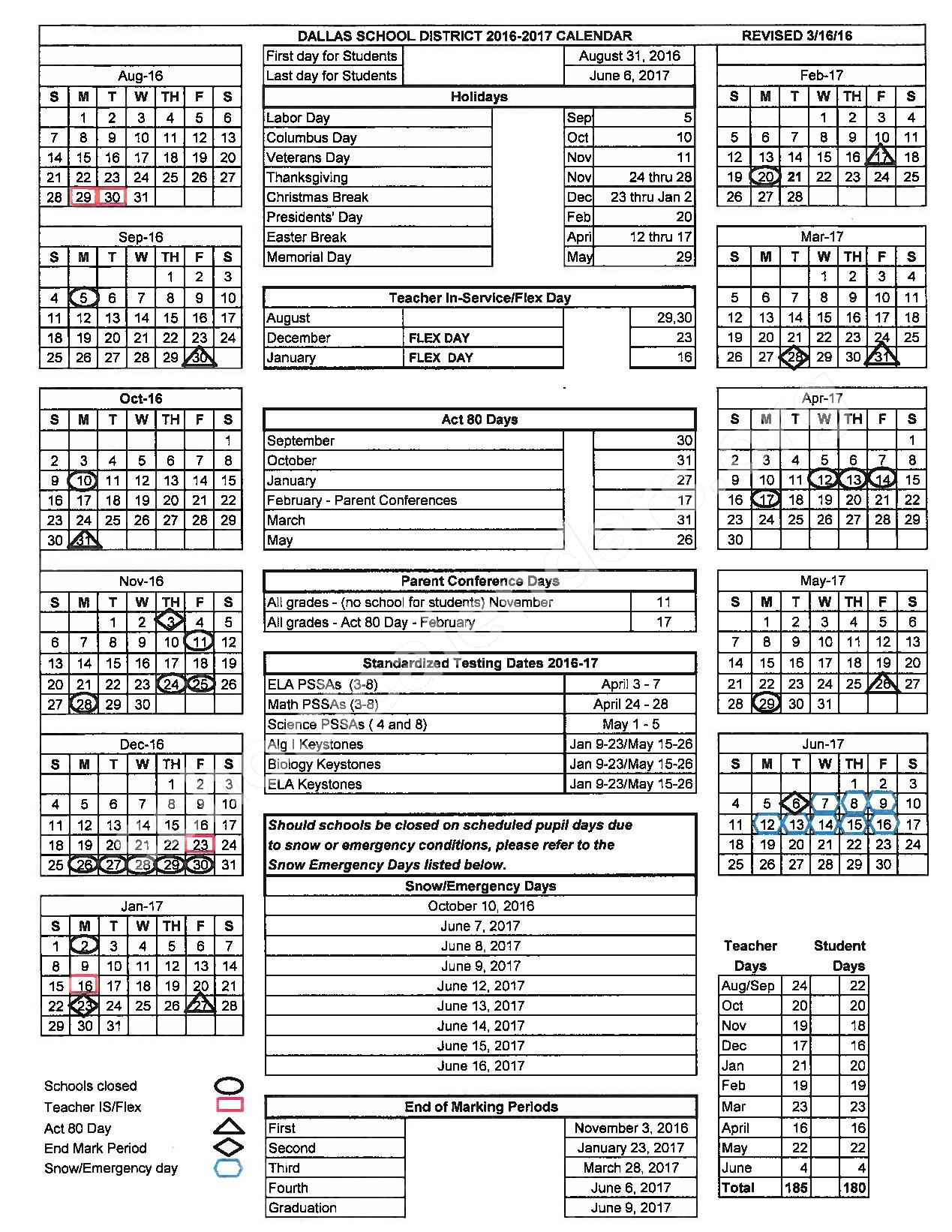 2016 - 2017  District Calendar – Wycallis Elementary School – page 1