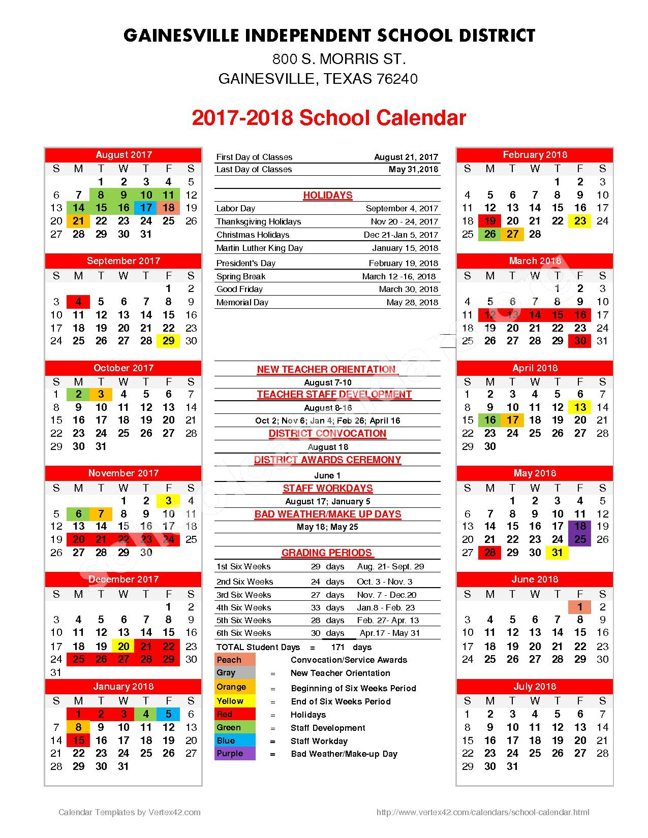 2017 - 2018 School Calendar – Leopard Pride Achievement Center – page 1