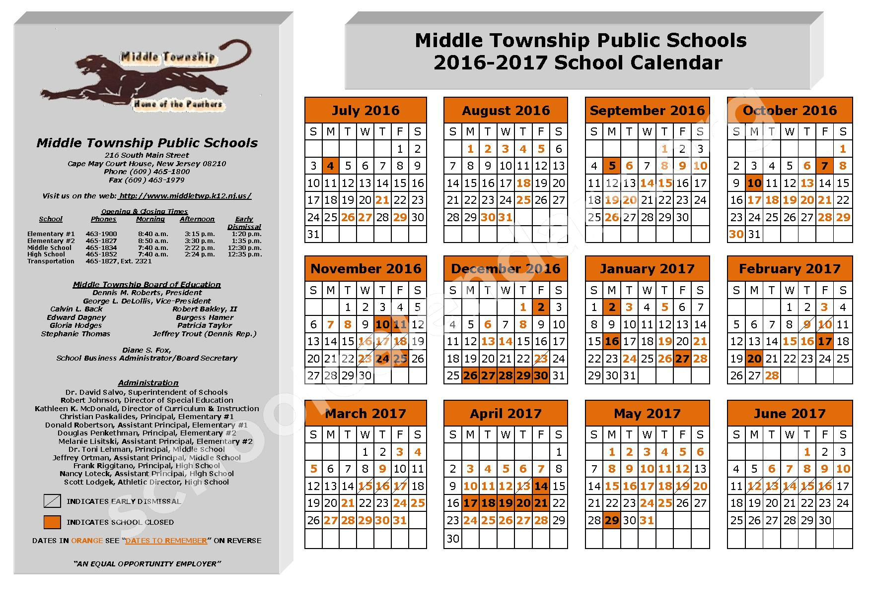 2016 - 2017 School Calendar – Middle Township Elementary 1 – page 1