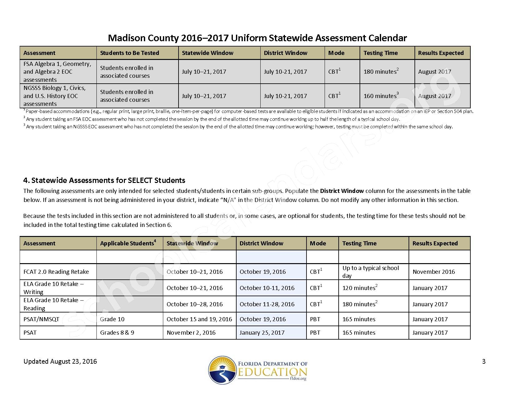 2016 - 2017 School Calendar – Madison County School District – page 3