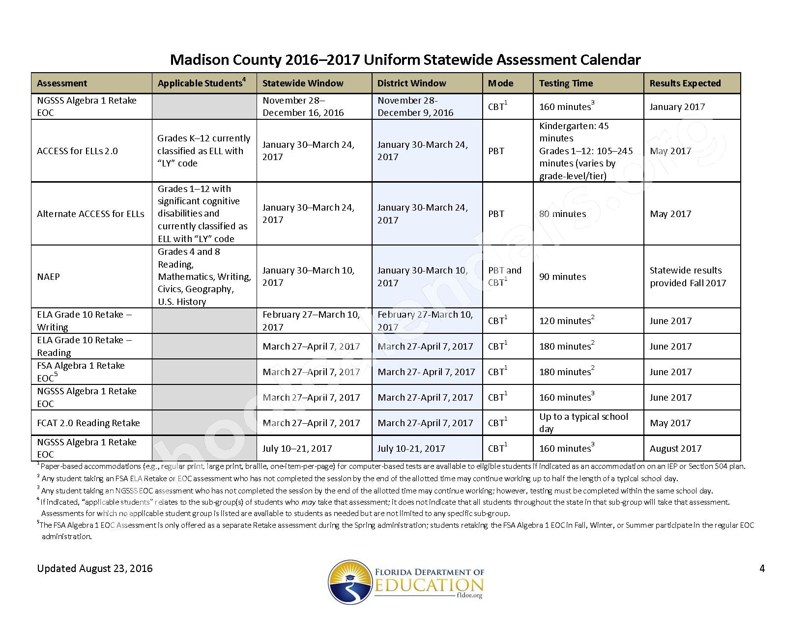 2016 - 2017 School Calendar – Madison County School District – page 4