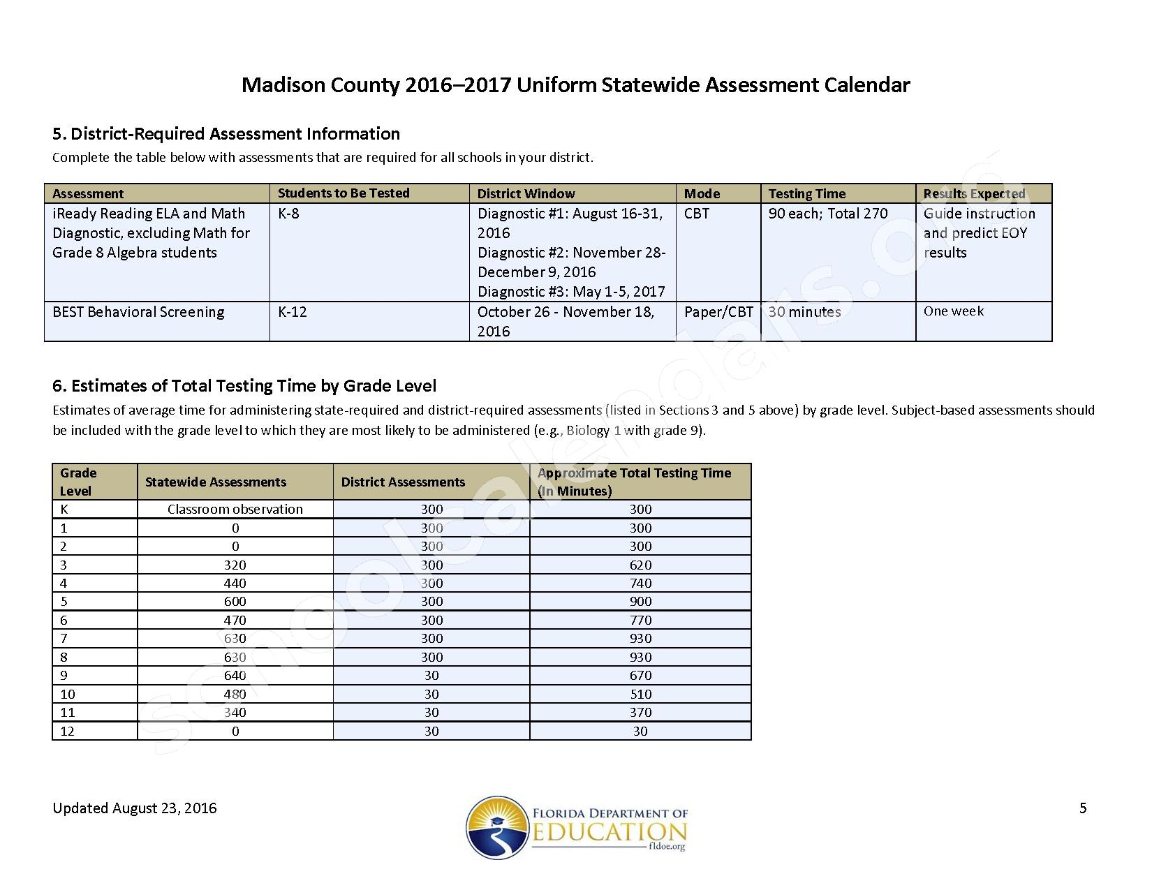 2016 - 2017 School Calendar – Madison County School District – page 5