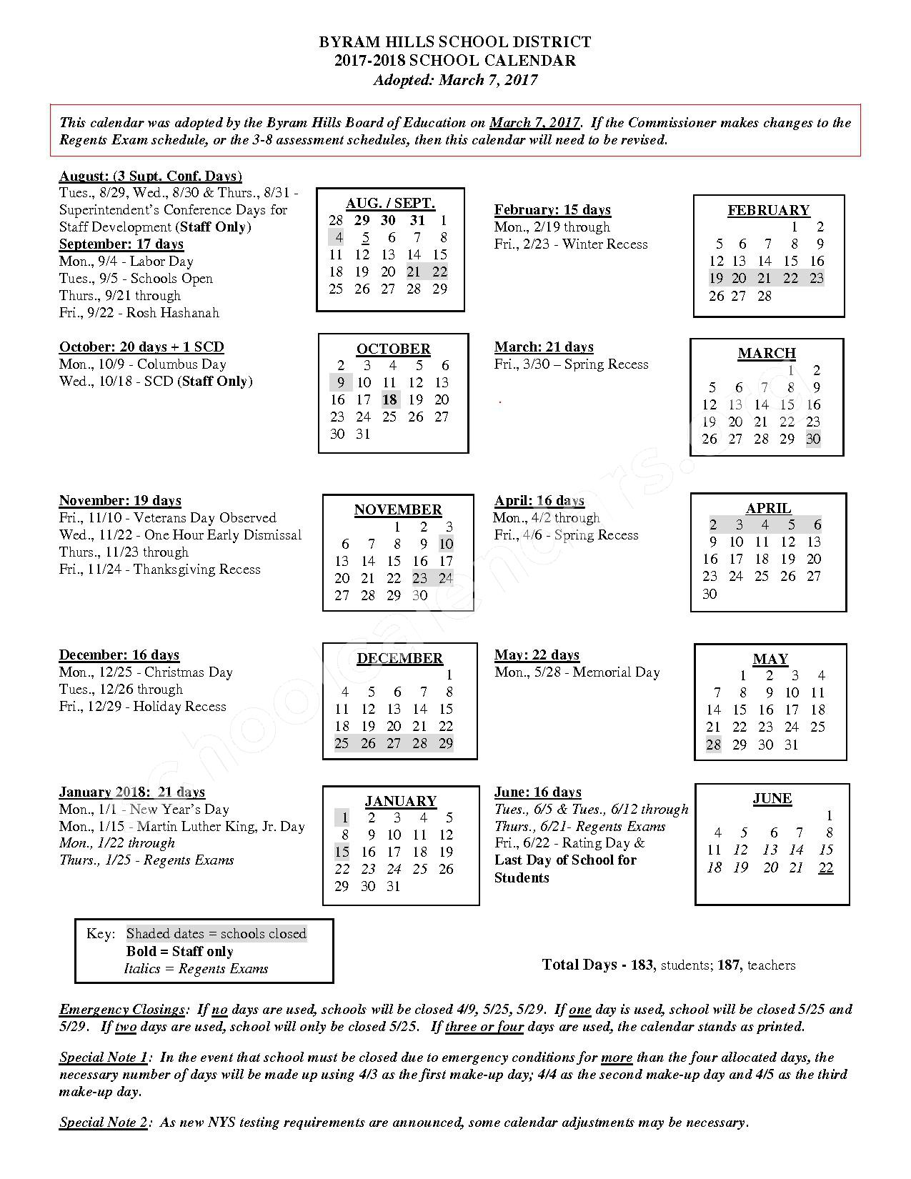 2017 - 2018 District Calendar – Byram Hills Central School District – page 1