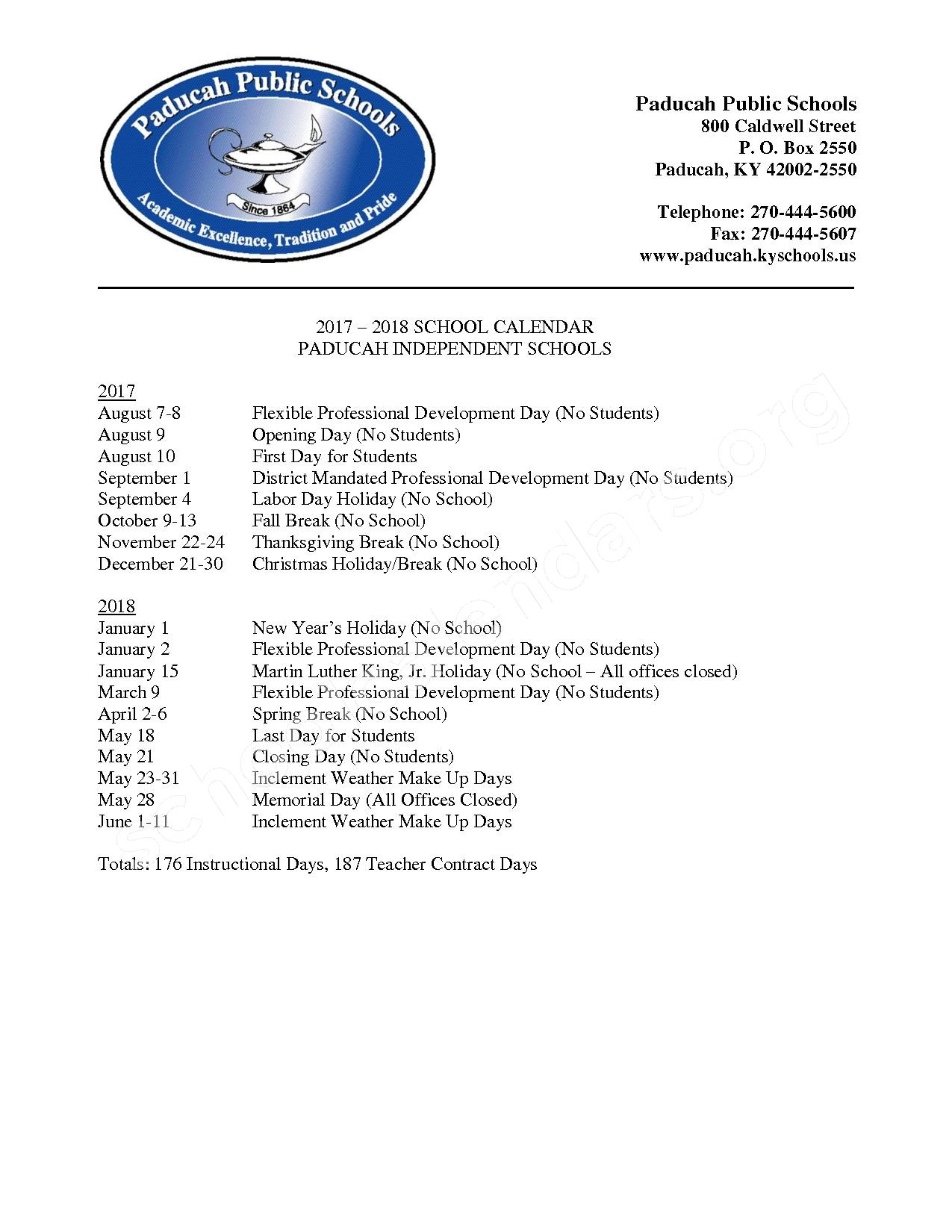 2017 - 2018 School Calendar – Paducah Independent School District – page 1