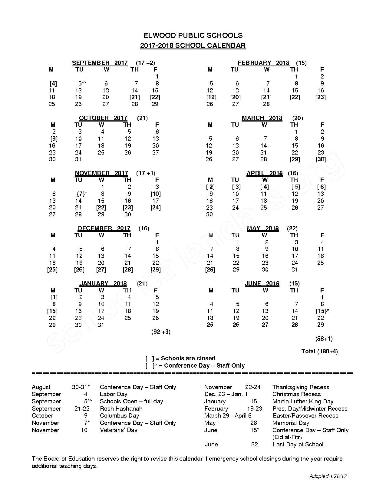 2017 - 2018 School Calendar – Elwood Union Free School District – page 1