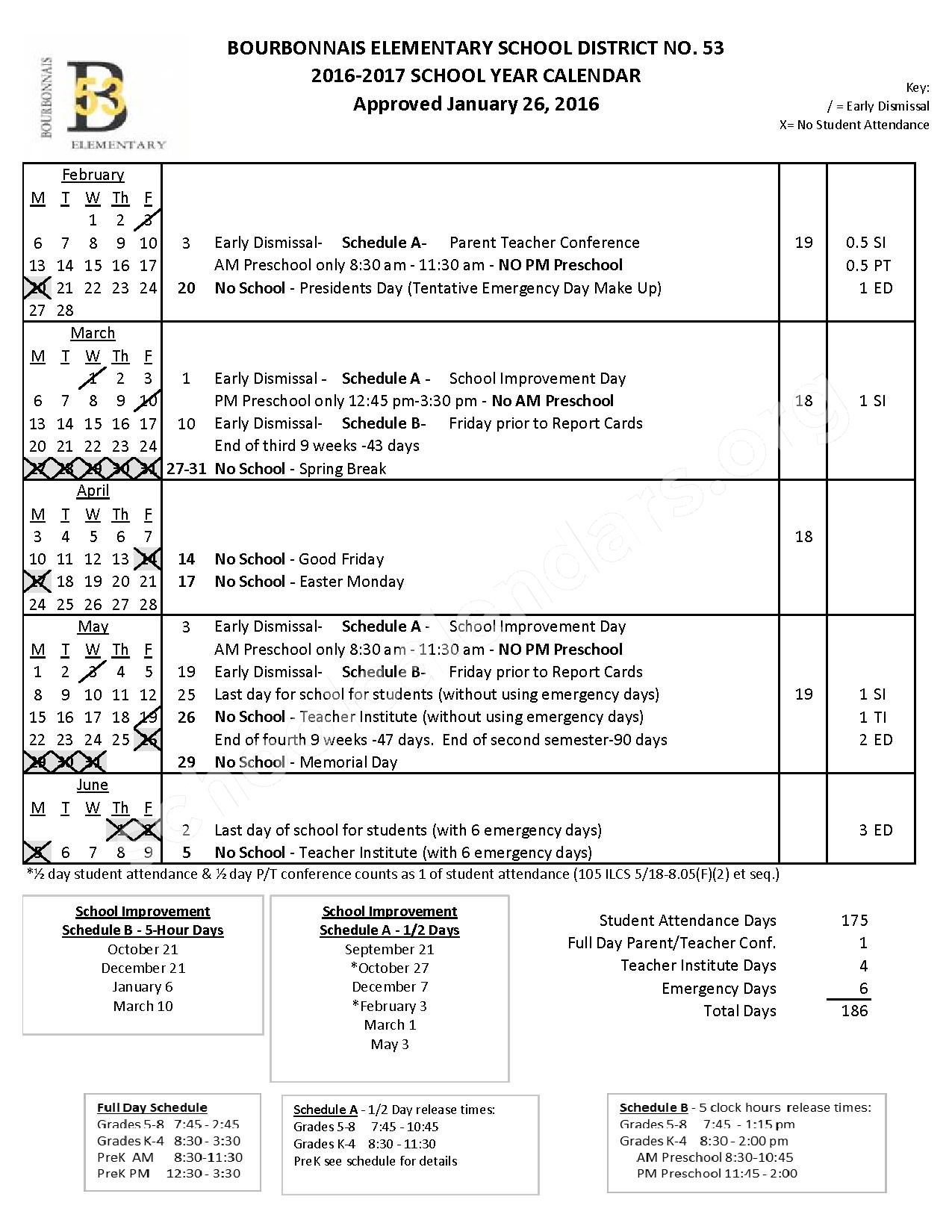 2016 - 2017 District Calendar – Bourbonnais Elementary School District 53 – page 2