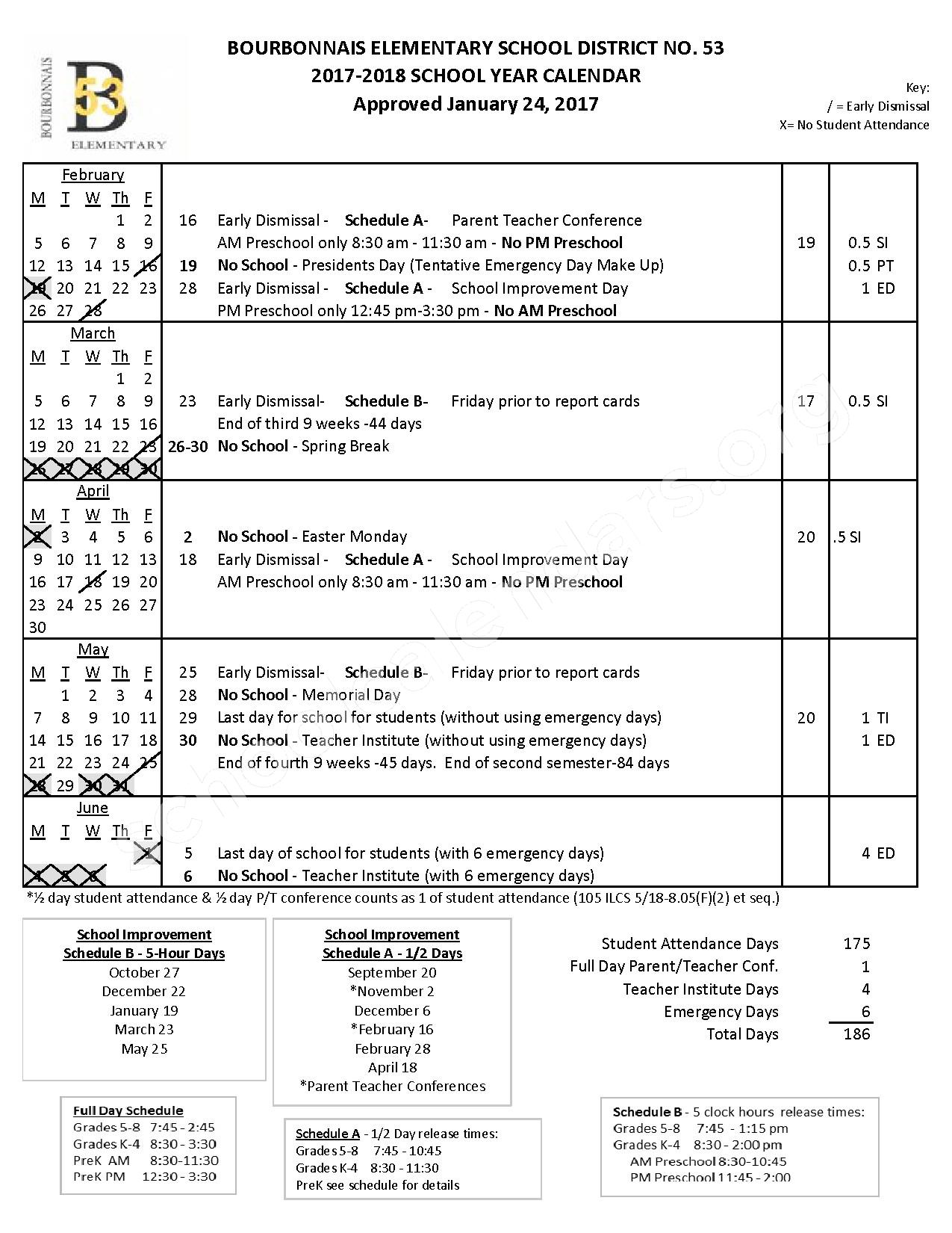 2017 - 2018 District Calendar – Bourbonnais Elementary School District 53 – page 2