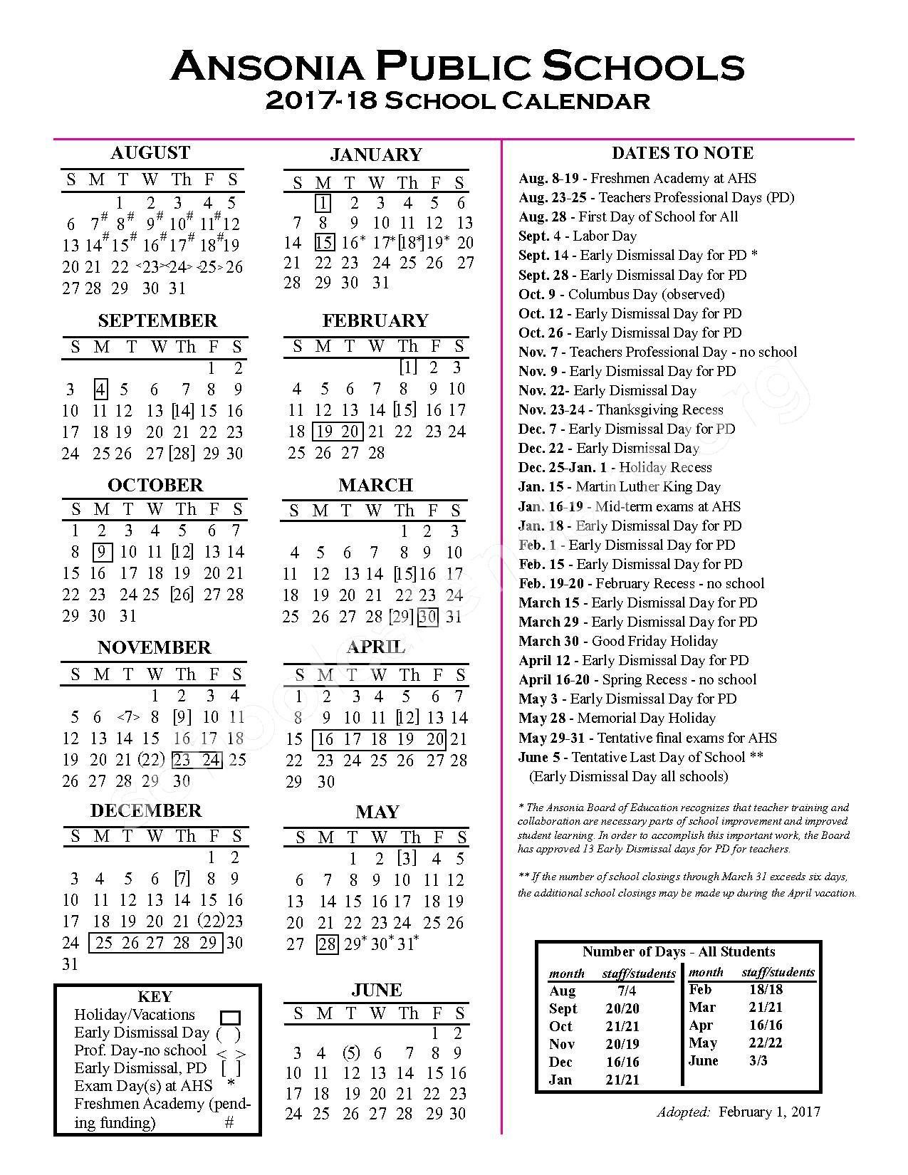 2017 - 2018 School Calendar – Ansonia Public Schools – page 1
