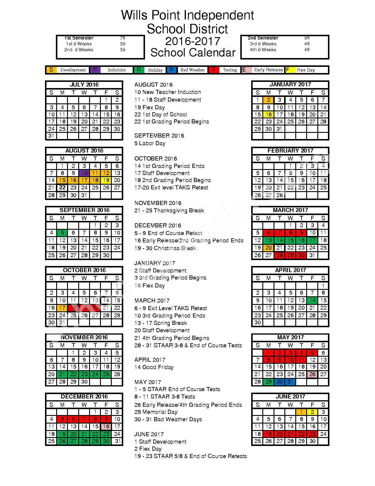 2016 - 2017 District Calendar – Wills Point Independent School District – page 1