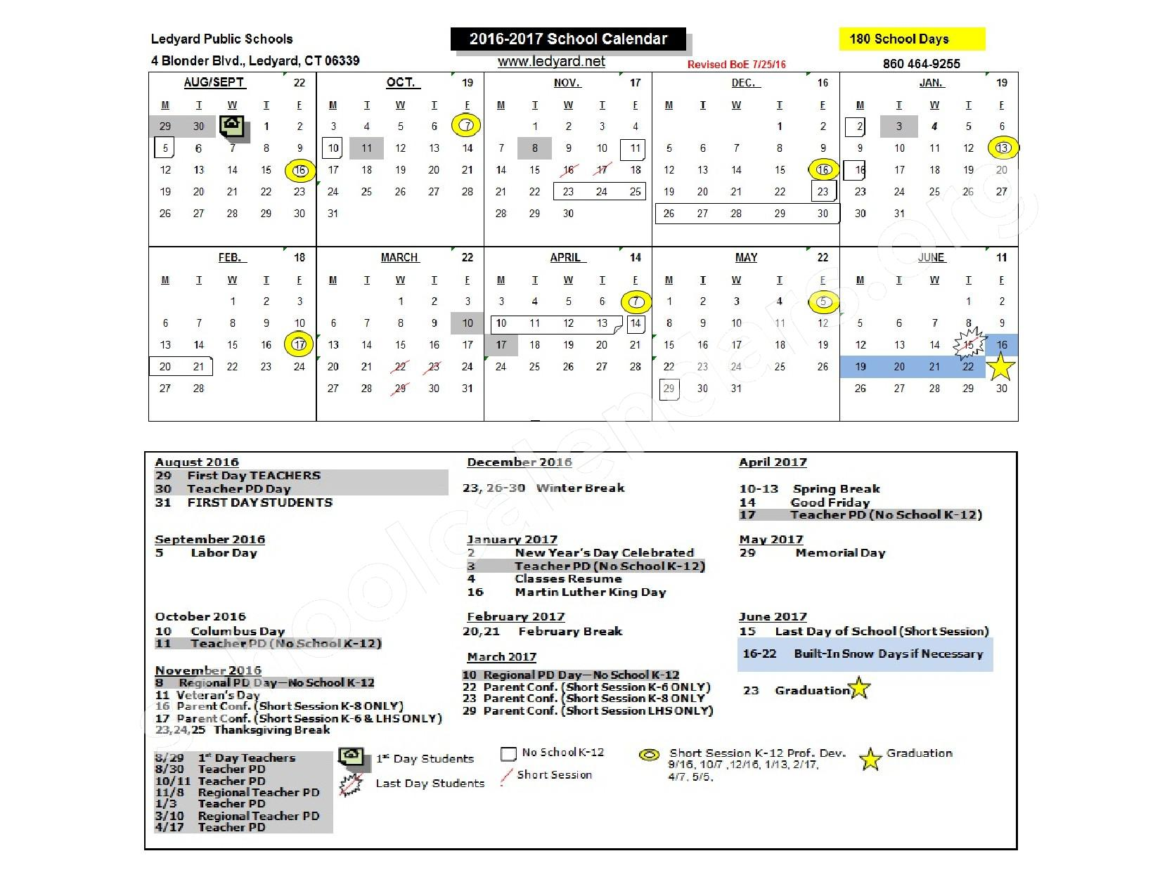 2016- 2017 School  Calendar – Ledyard Center School – page 1