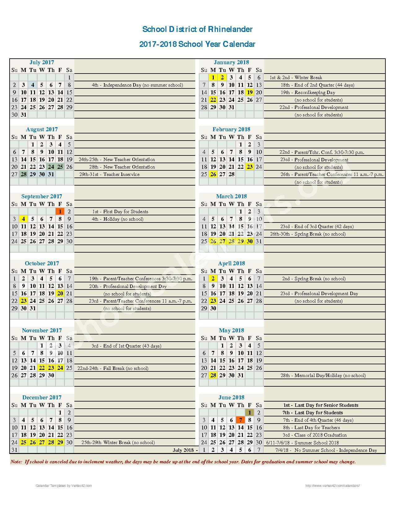 2017 - 2018 School Calendar – Rhinelander School District – page 1