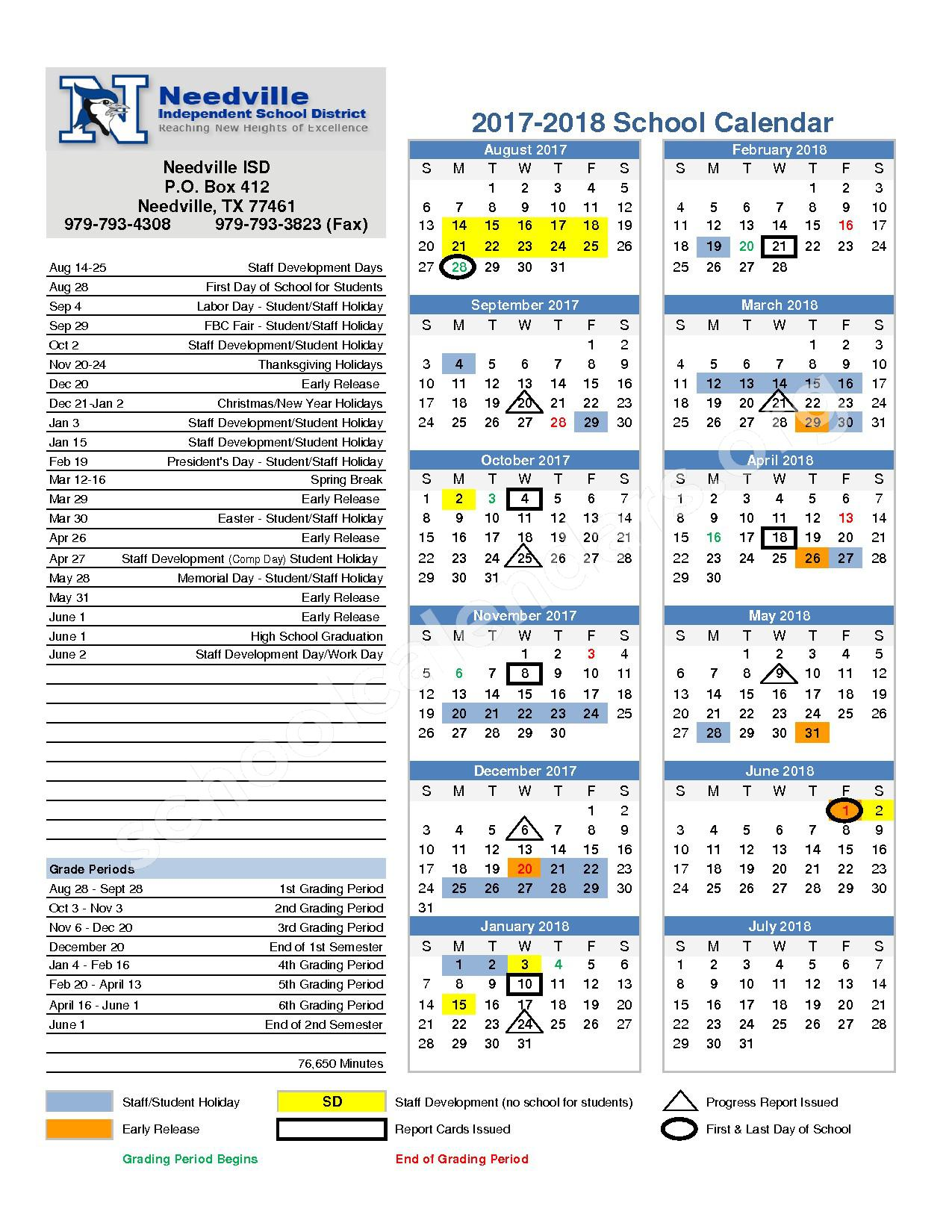 2017 - 2018 School Calendar – Needville Independent School District – page 1