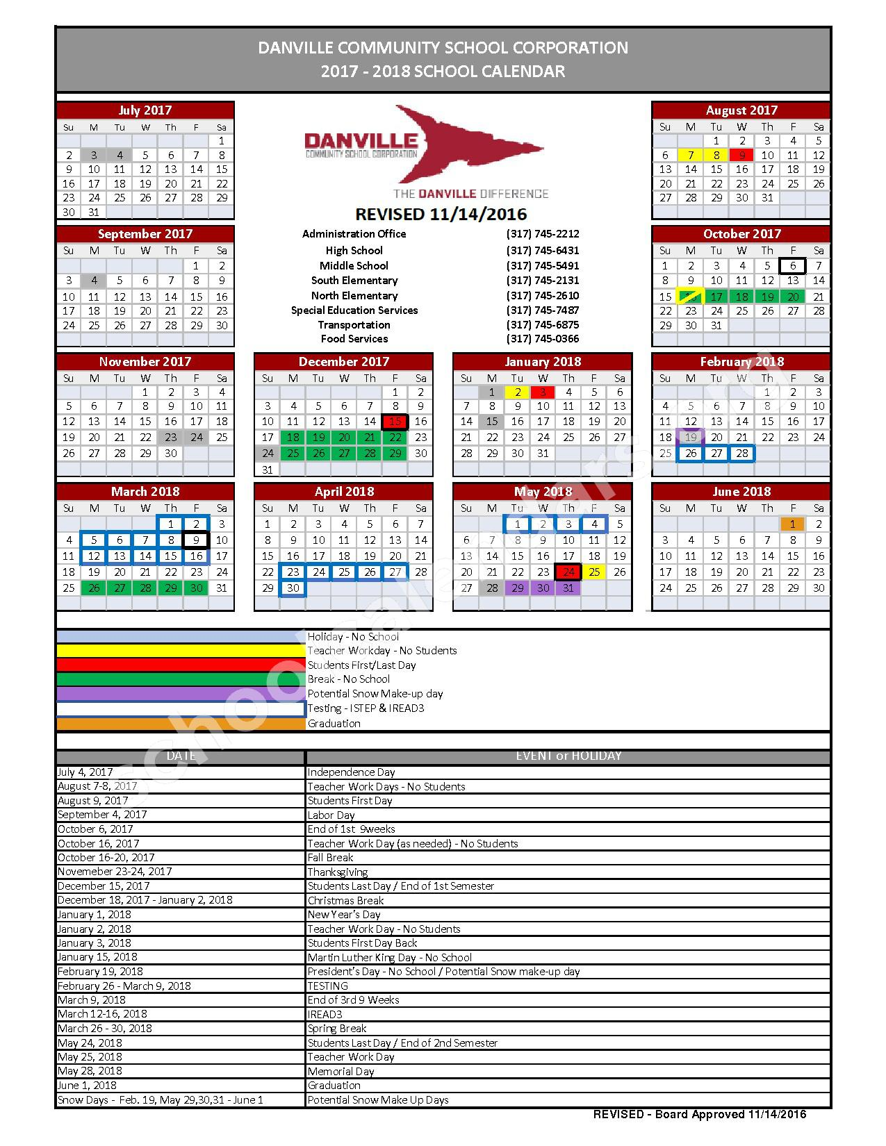 2017 - 2018 District Calendar – Danville Community High School – page 1