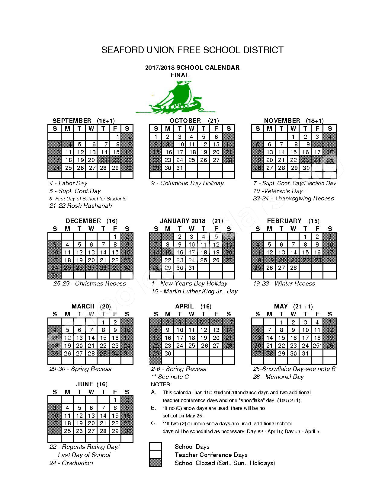 2017 - 2018 District Calendar – Seaford Union Free School District – page 1