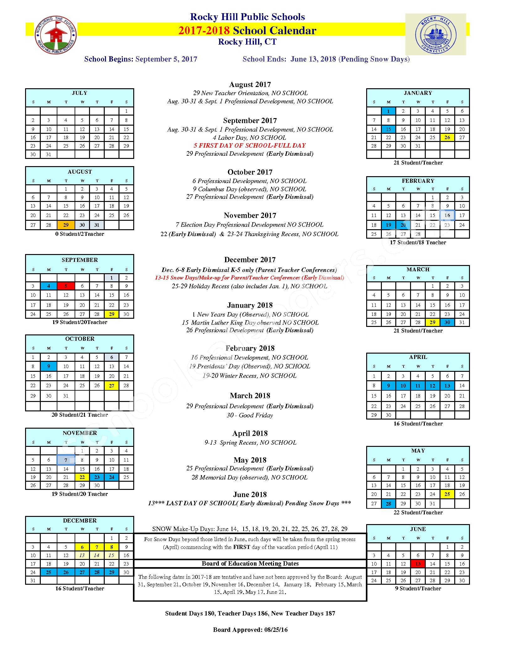2017 - 2018 District Calendar – West Hill School – page 1